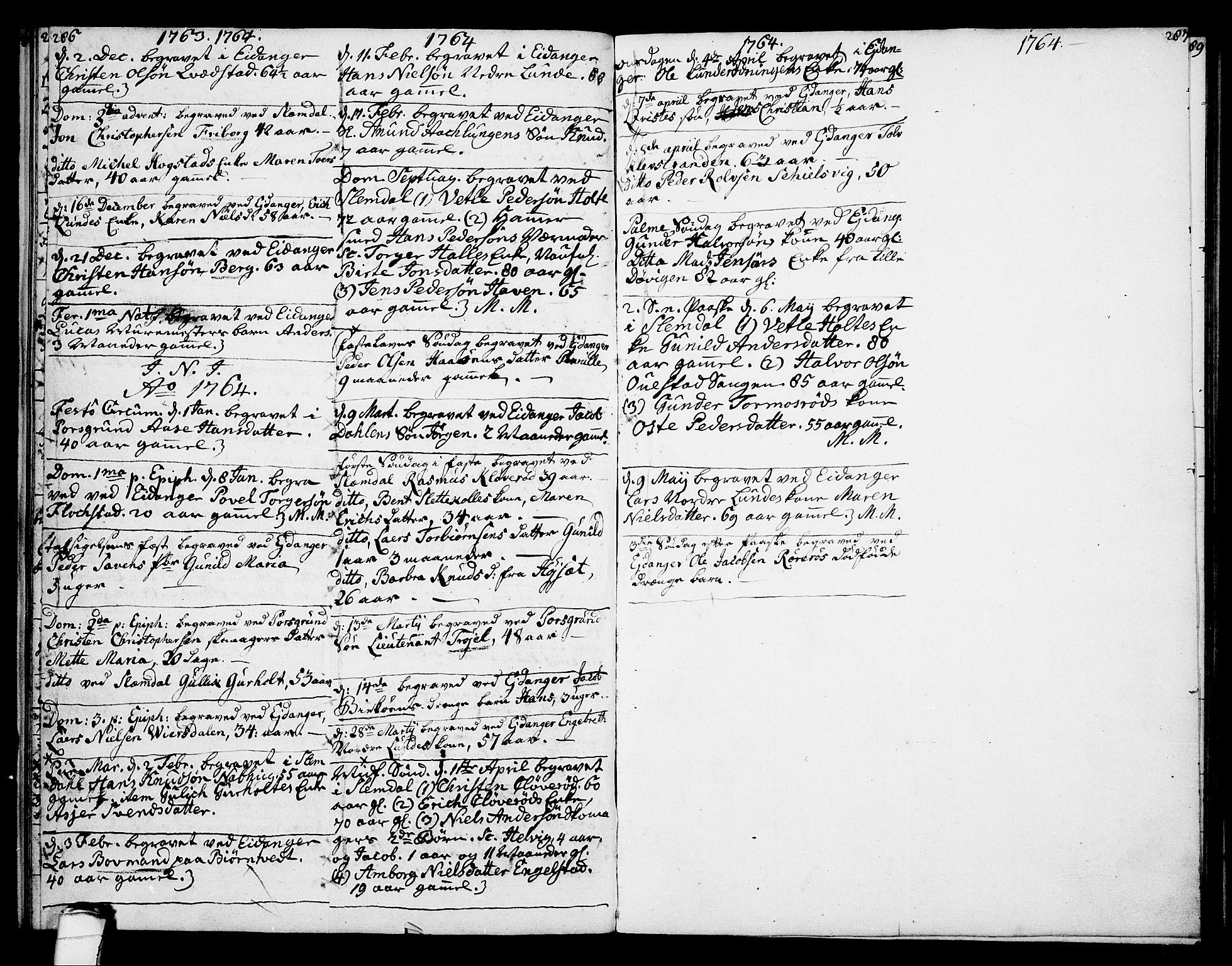 SAKO, Eidanger kirkebøker, F/Fa/L0005: Ministerialbok nr. 5, 1760-1764, s. 286-287