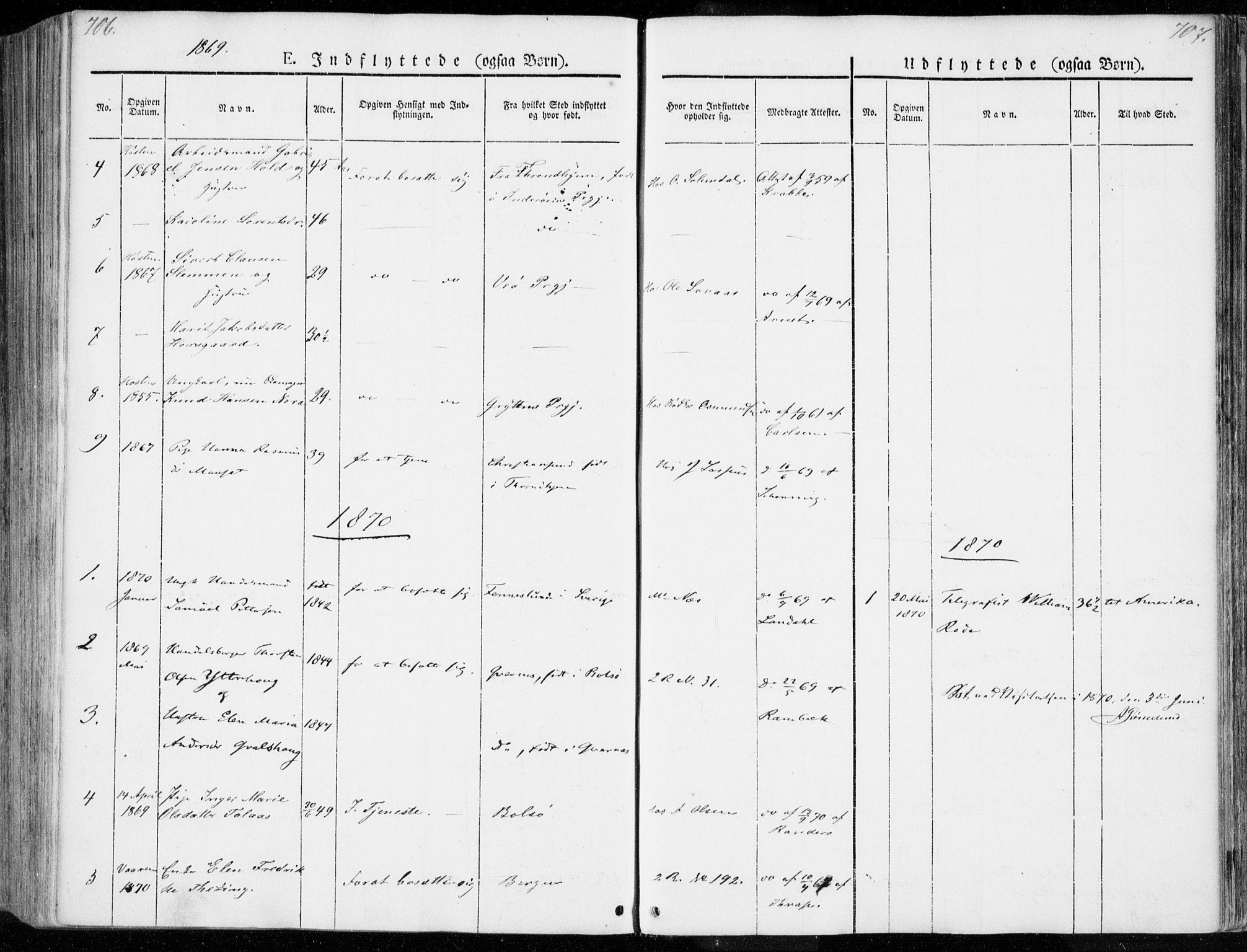 SAT, Ministerialprotokoller, klokkerbøker og fødselsregistre - Møre og Romsdal, 558/L0689: Ministerialbok nr. 558A03, 1843-1872, s. 706-707