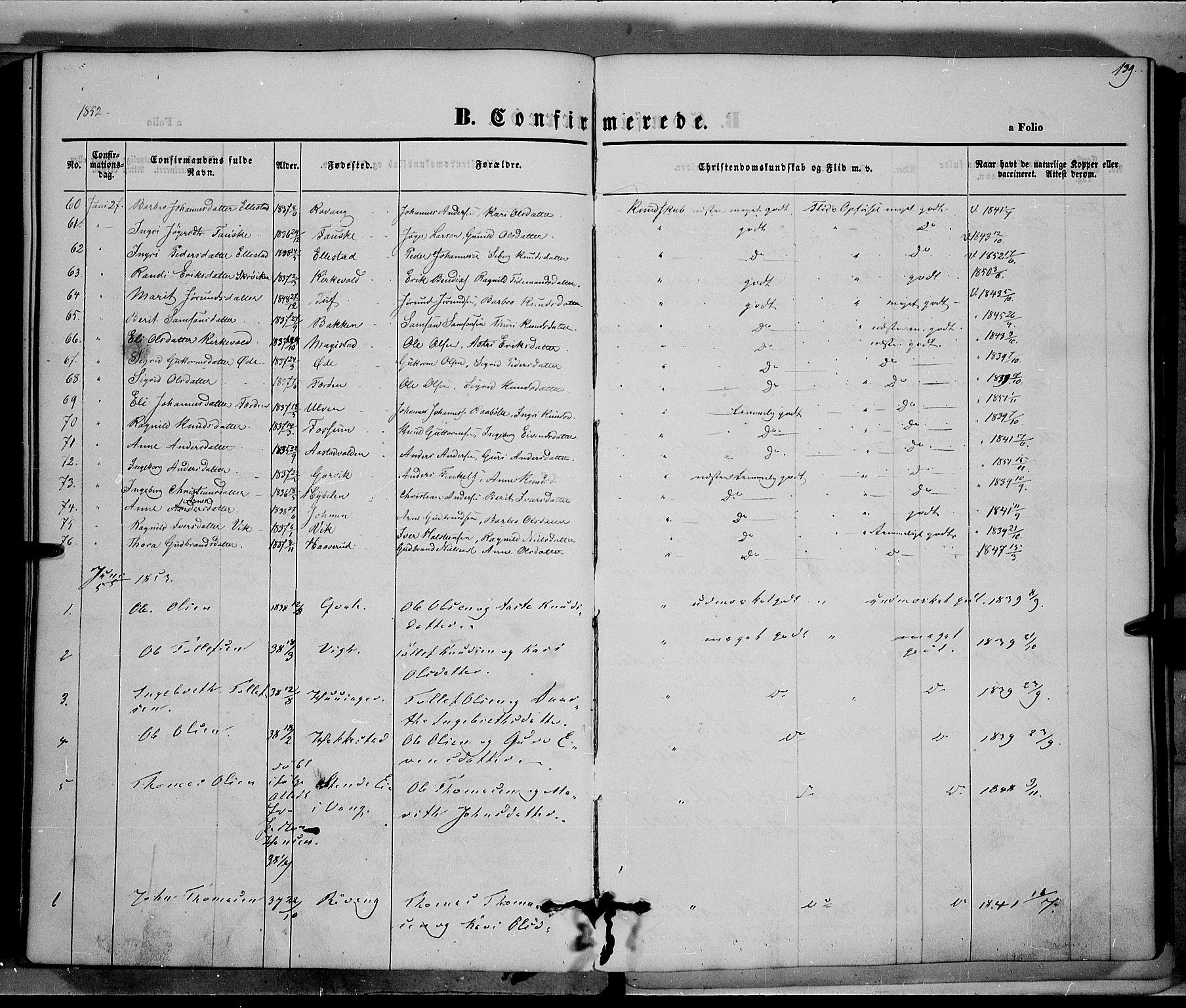 SAH, Vestre Slidre prestekontor, Ministerialbok nr. 1, 1844-1855, s. 139