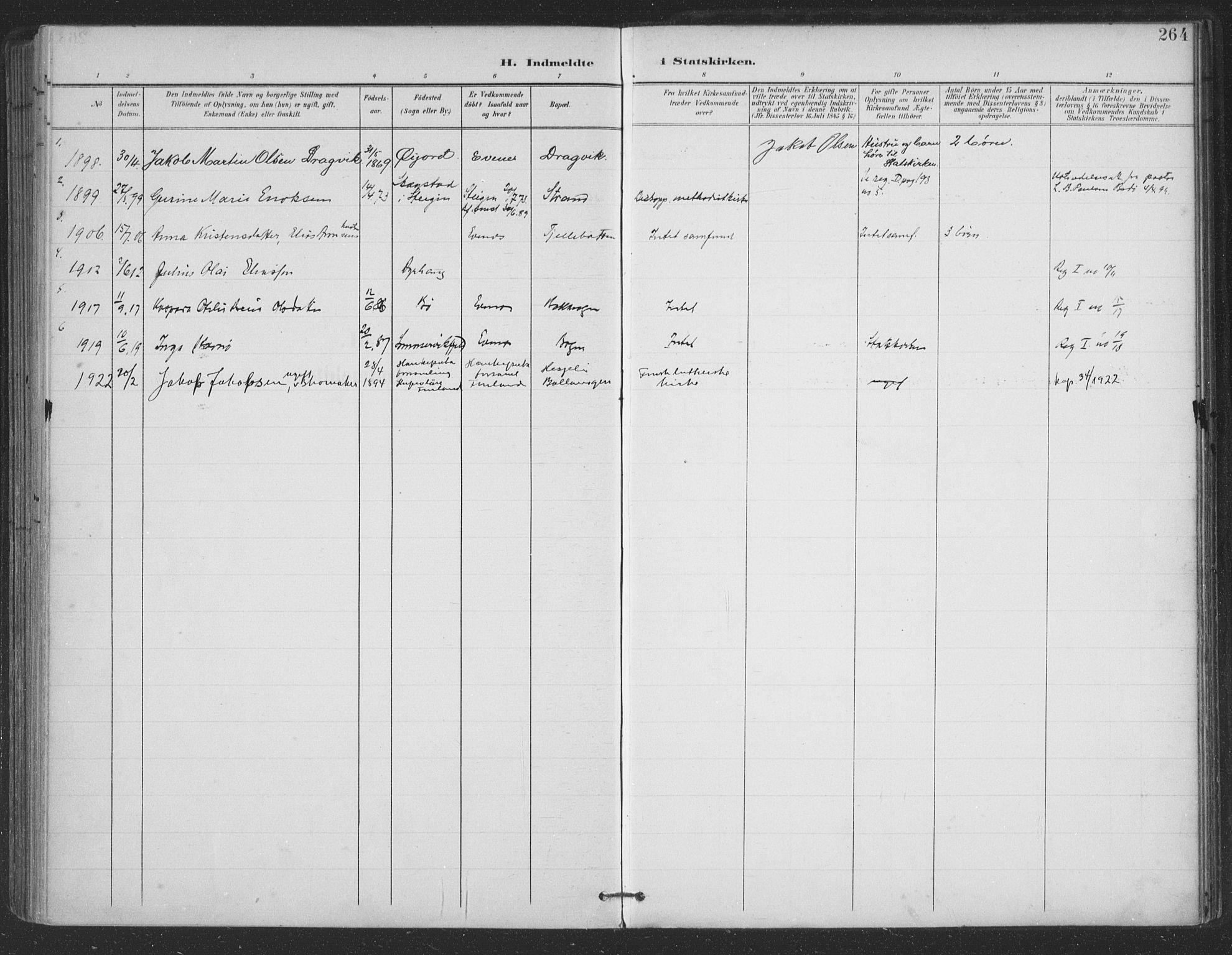 SAT, Ministerialprotokoller, klokkerbøker og fødselsregistre - Nordland, 863/L0899: Ministerialbok nr. 863A11, 1897-1906, s. 264