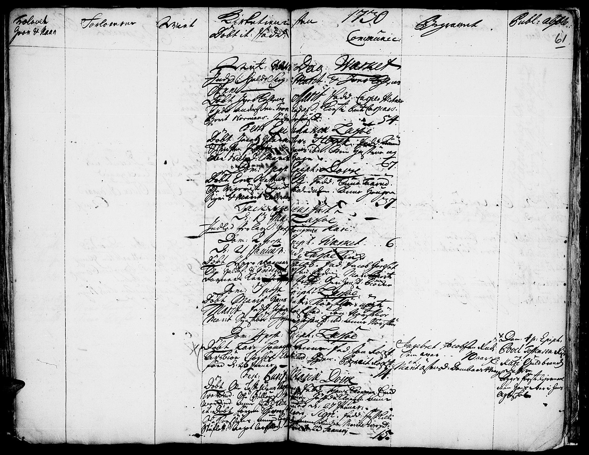 SAH, Lesja prestekontor, Ministerialbok nr. 1, 1724-1731, s. 61