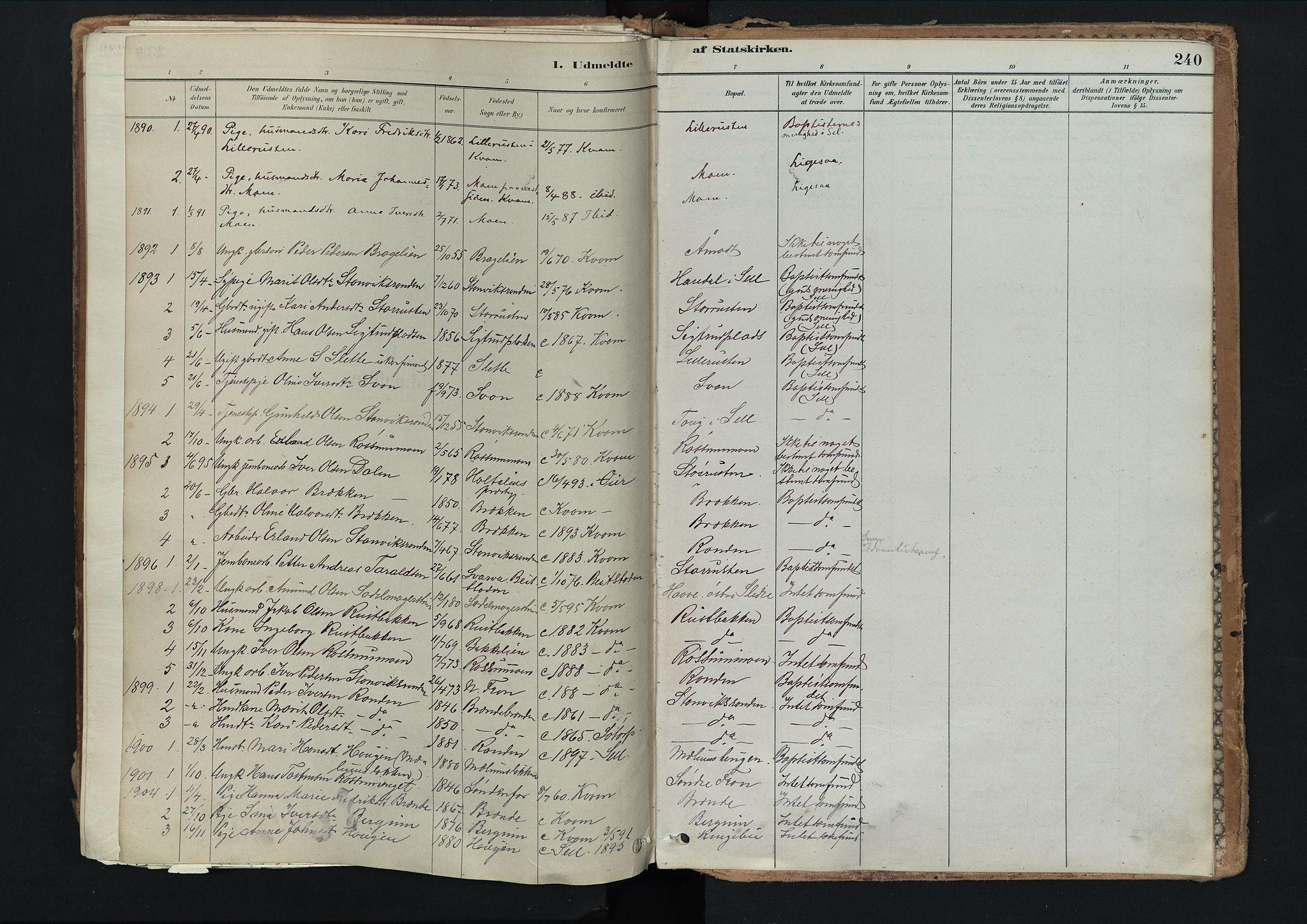 SAH, Nord-Fron prestekontor, Ministerialbok nr. 3, 1884-1914, s. 240