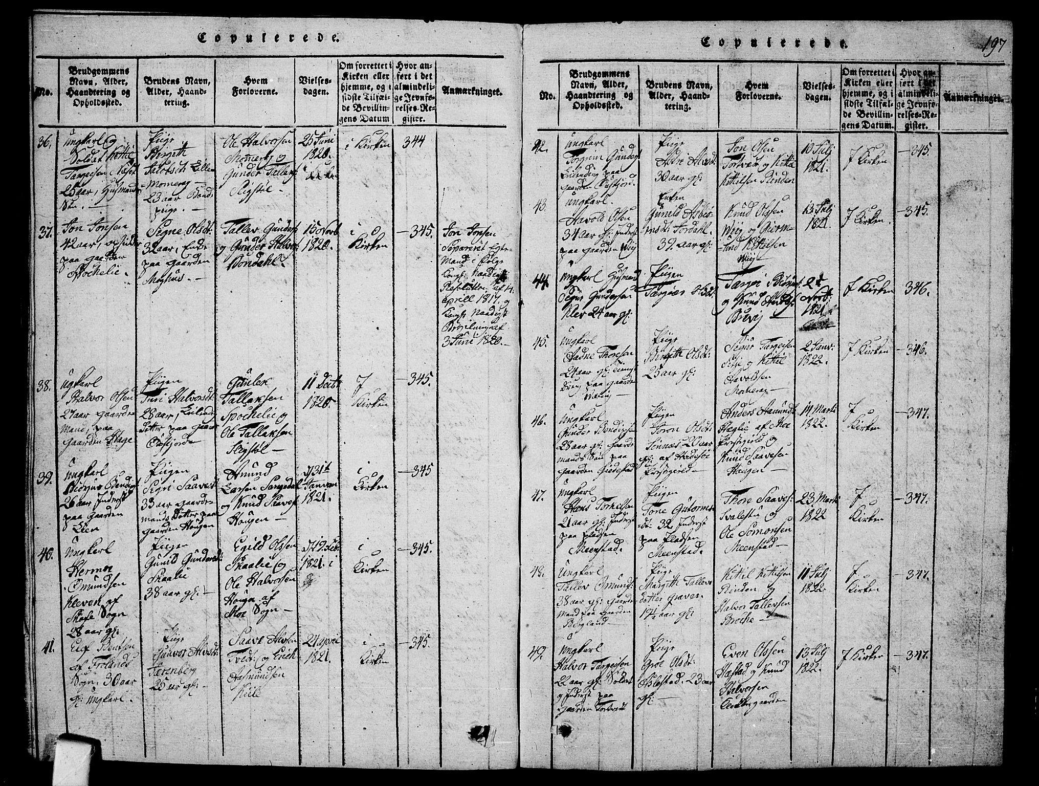 SAKO, Fyresdal kirkebøker, G/Ga/L0001: Klokkerbok nr. I 1, 1816-1840, s. 197