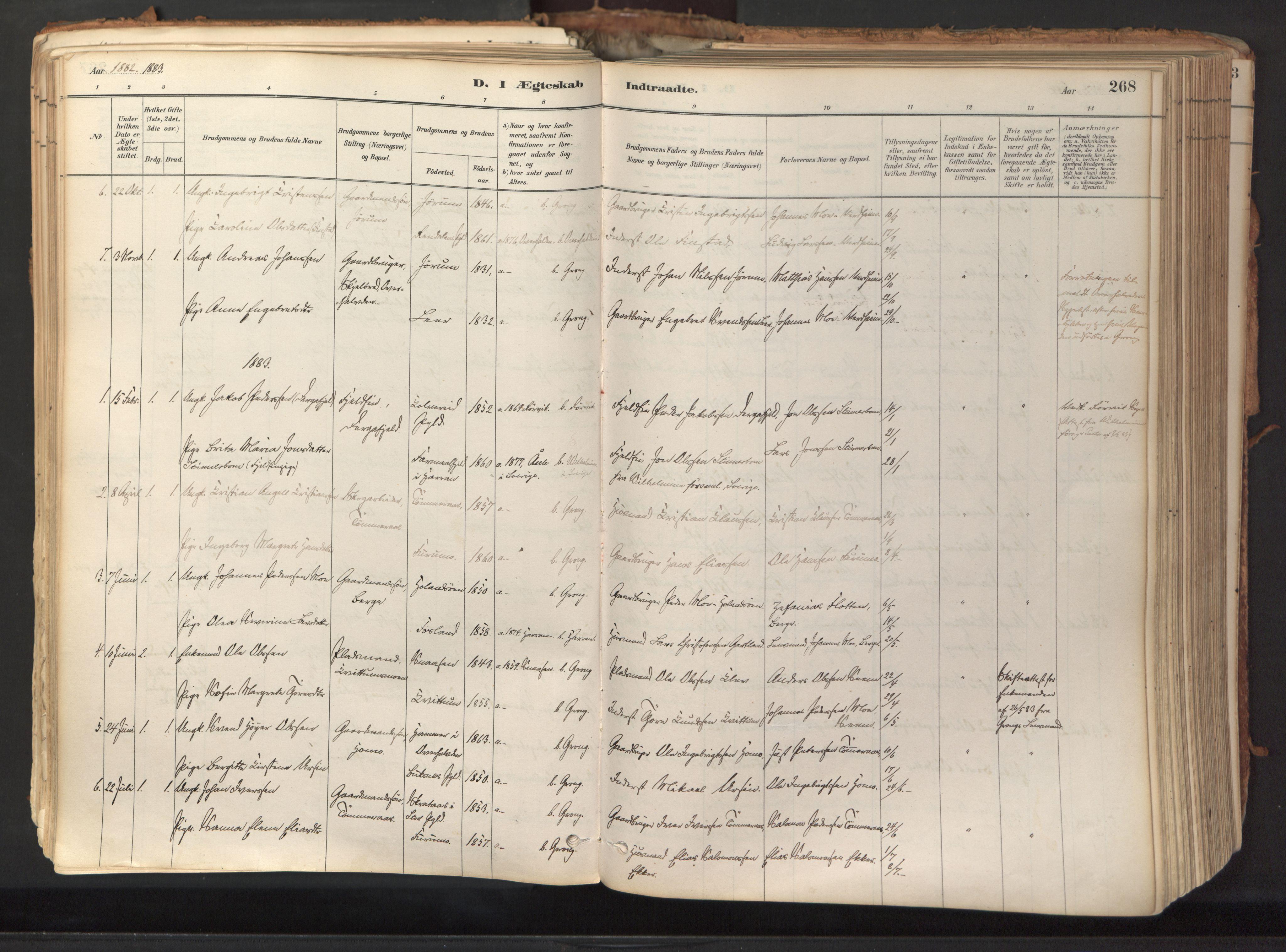 SAT, Ministerialprotokoller, klokkerbøker og fødselsregistre - Nord-Trøndelag, 758/L0519: Ministerialbok nr. 758A04, 1880-1926, s. 268