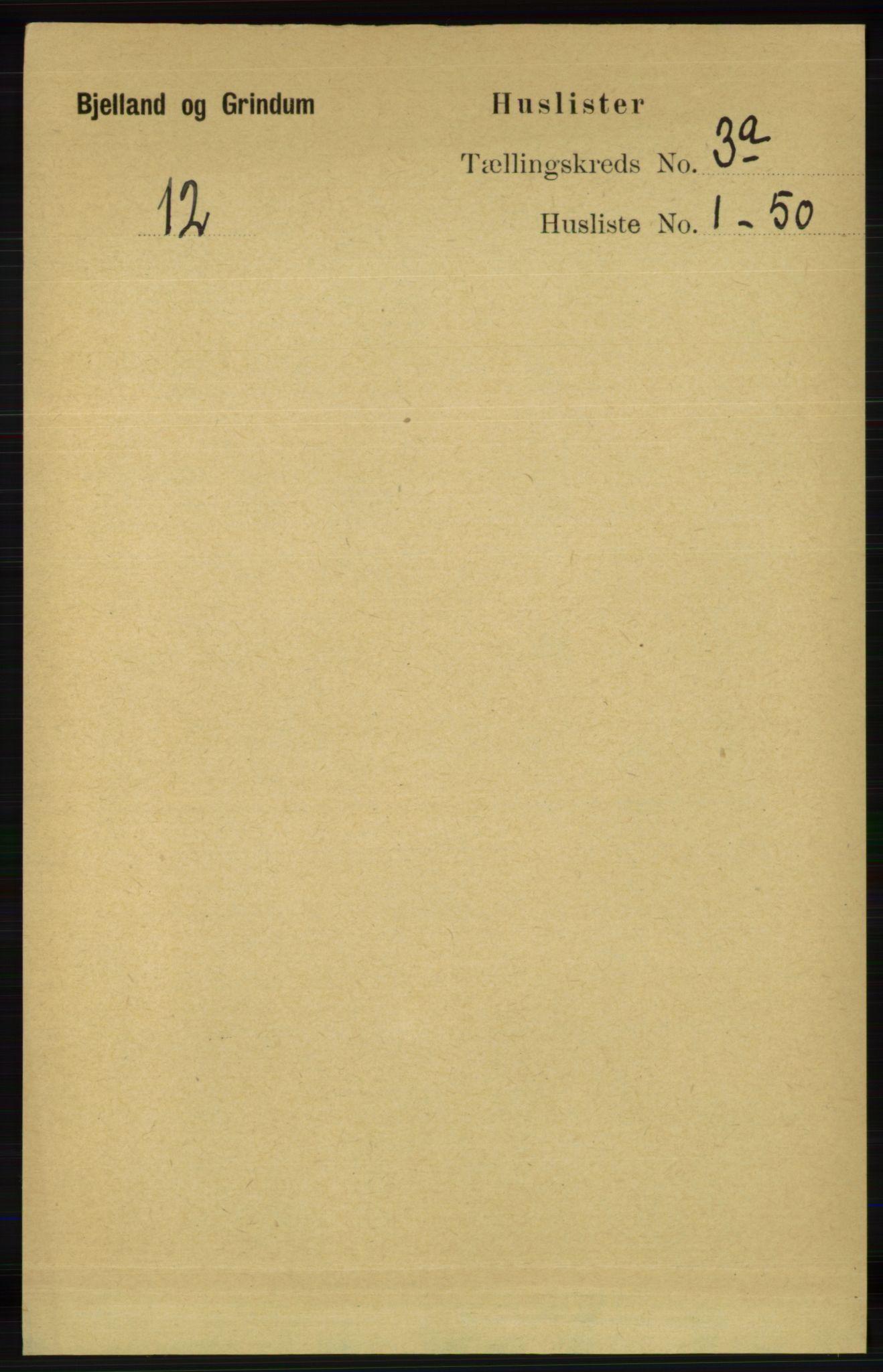 RA, Folketelling 1891 for 1024 Bjelland og Grindheim herred, 1891, s. 1405