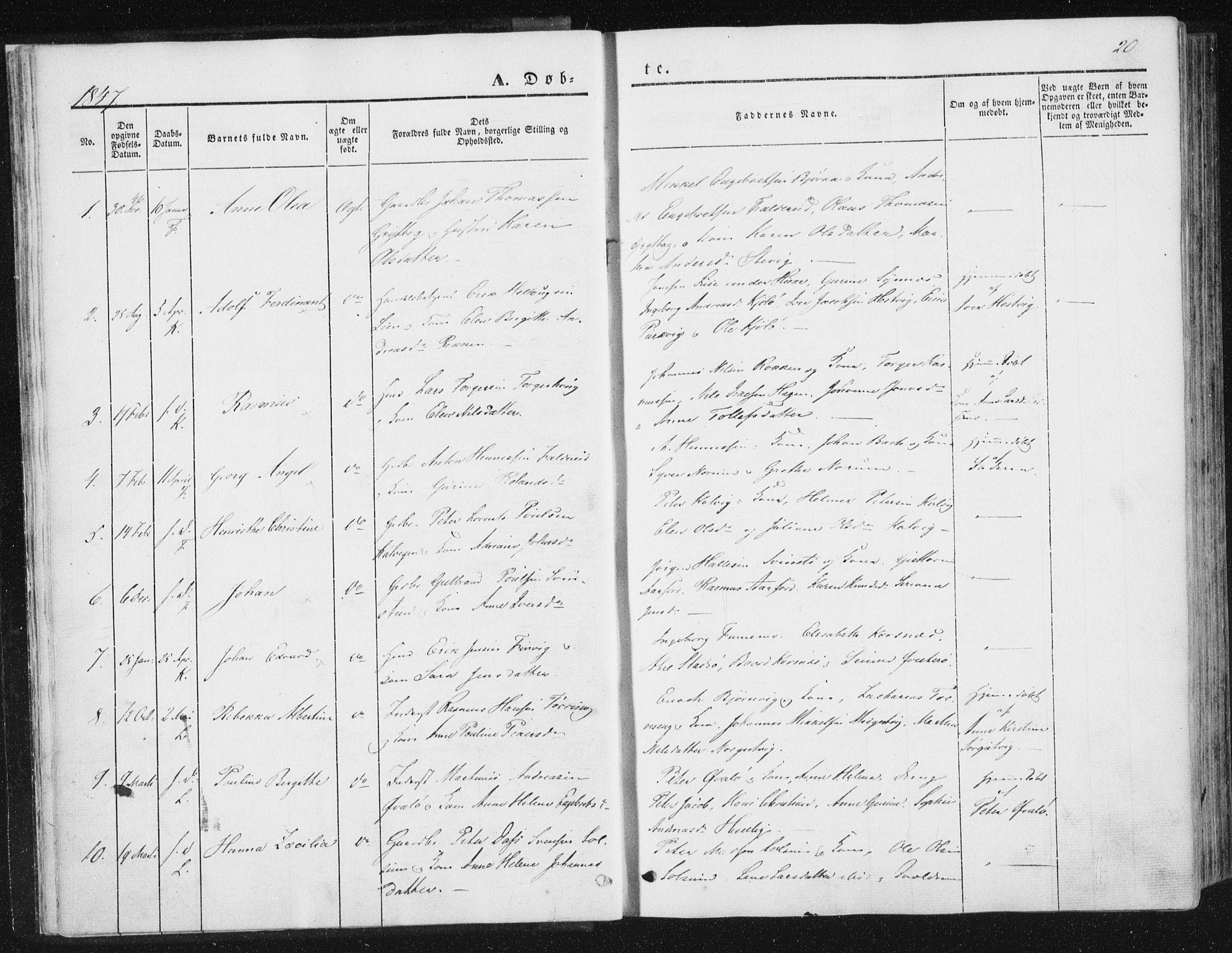 SAT, Ministerialprotokoller, klokkerbøker og fødselsregistre - Nord-Trøndelag, 780/L0640: Ministerialbok nr. 780A05, 1845-1856, s. 20