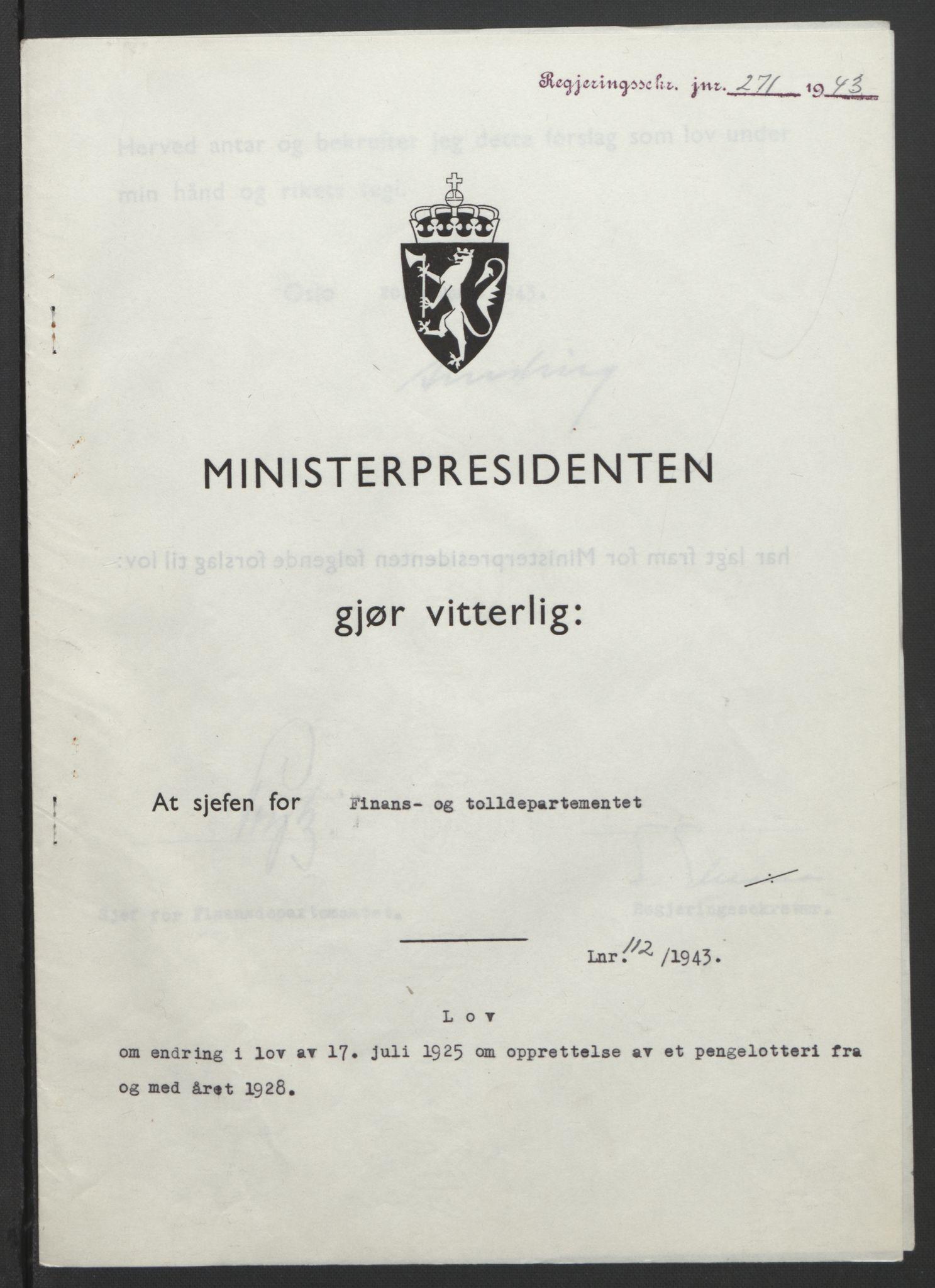 RA, NS-administrasjonen 1940-1945 (Statsrådsekretariatet, de kommisariske statsråder mm), D/Db/L0099: Lover, 1943, s. 523