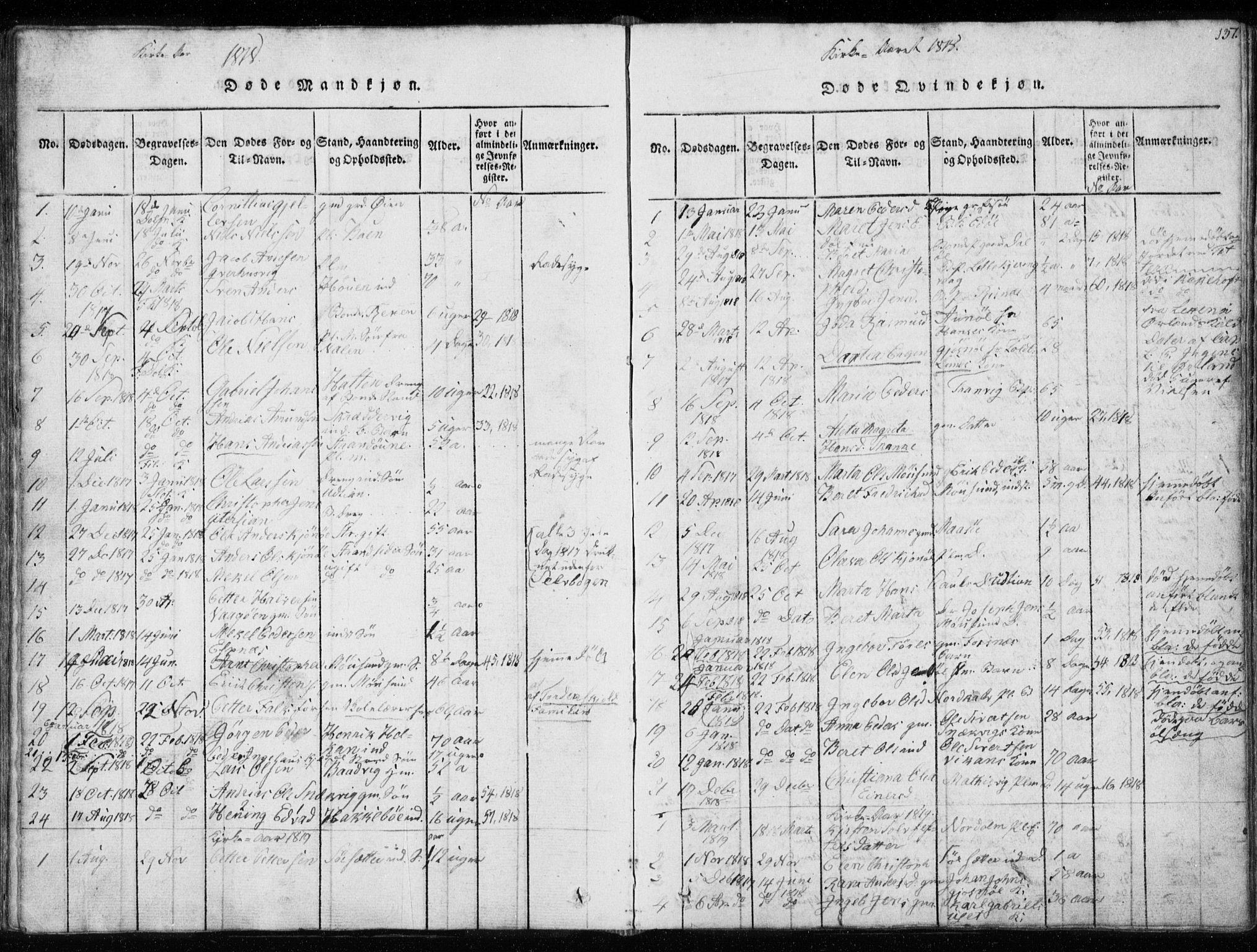 SAT, Ministerialprotokoller, klokkerbøker og fødselsregistre - Sør-Trøndelag, 634/L0527: Ministerialbok nr. 634A03, 1818-1826, s. 137