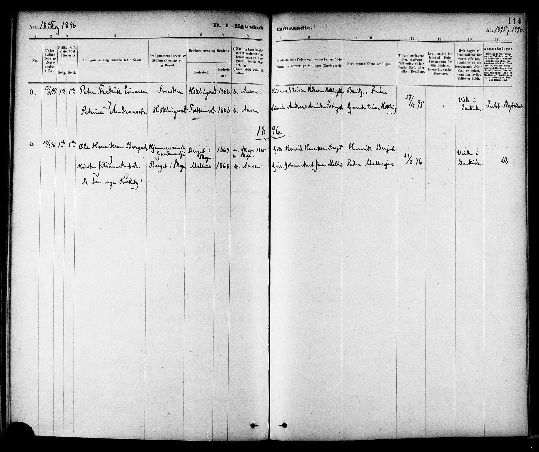SAT, Ministerialprotokoller, klokkerbøker og fødselsregistre - Nord-Trøndelag, 714/L0130: Ministerialbok nr. 714A01, 1878-1895, s. 114