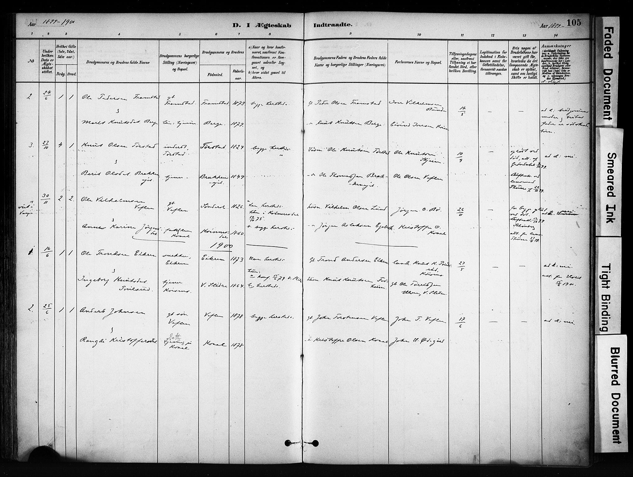 SAH, Vang prestekontor, Valdres, Ministerialbok nr. 9, 1882-1914, s. 105