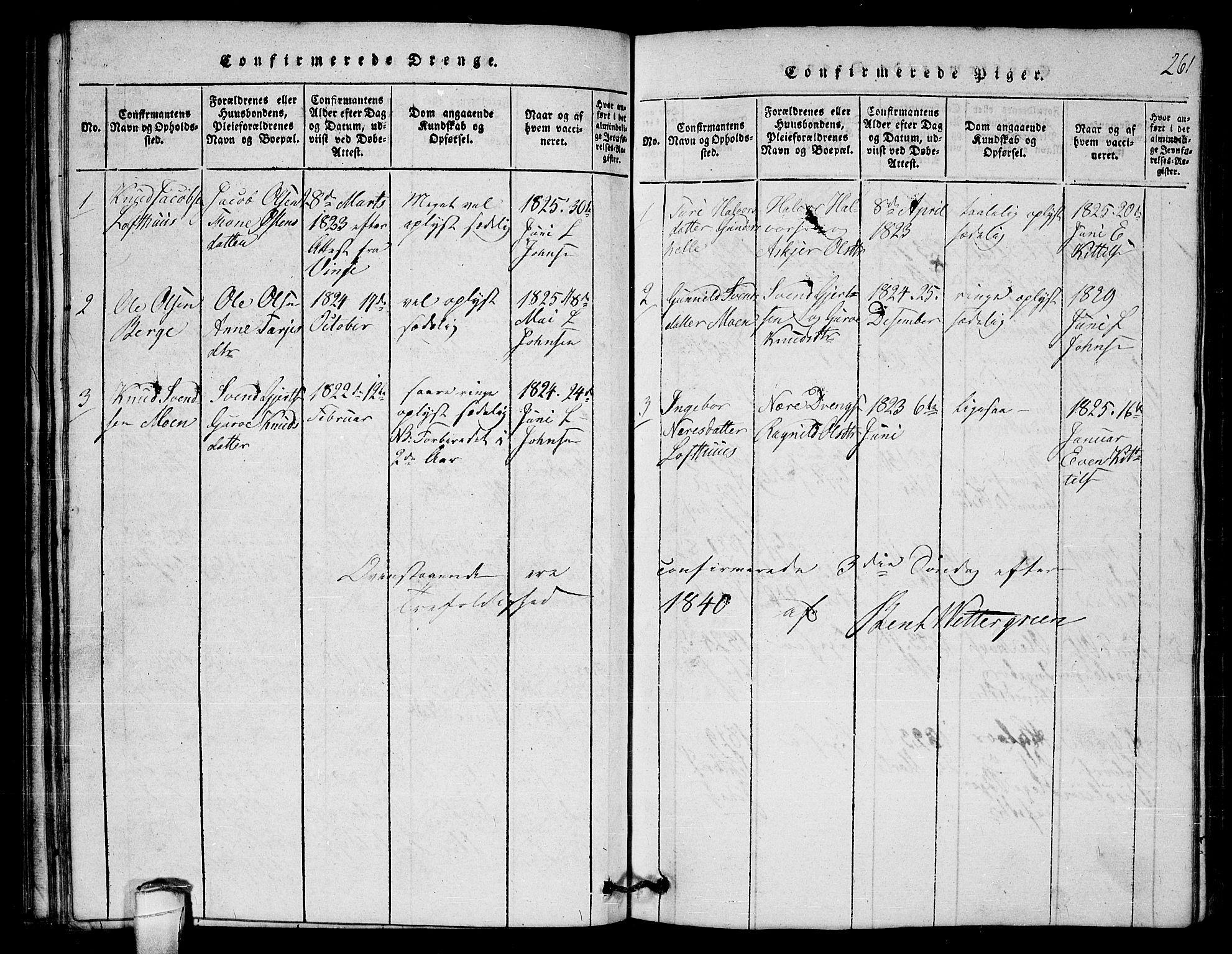 SAKO, Lårdal kirkebøker, G/Gb/L0001: Klokkerbok nr. II 1, 1815-1865, s. 261