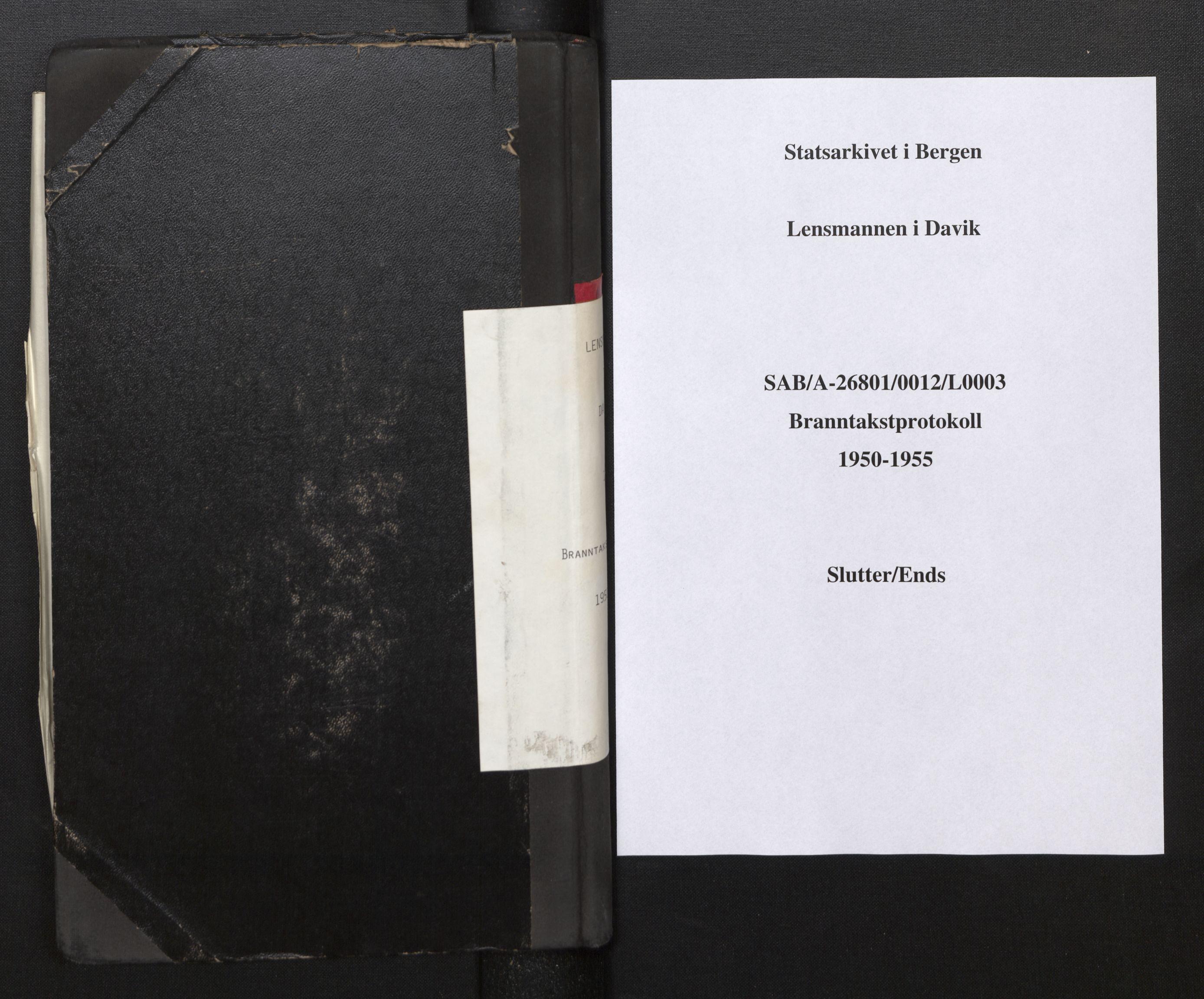SAB, Lensmannen i Davik, 0012/L0003: Branntakstprotokoll, 1950-1955