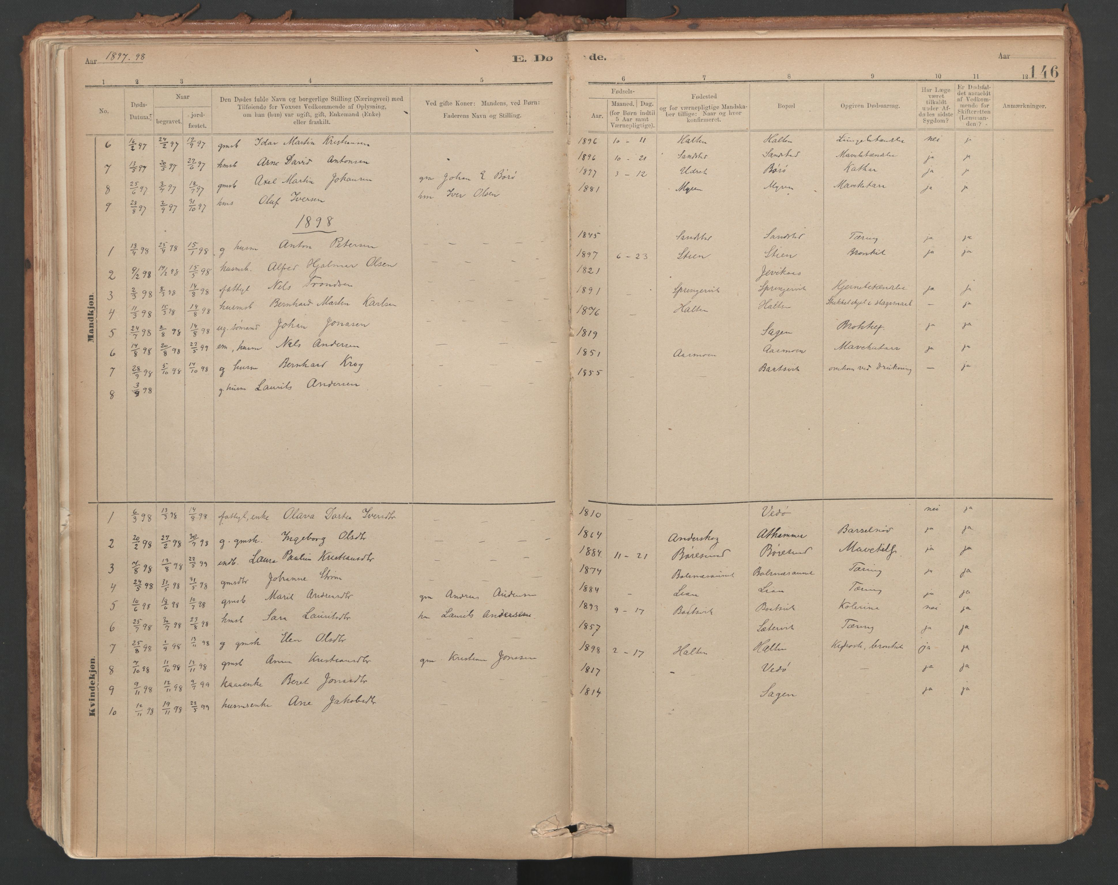 SAT, Ministerialprotokoller, klokkerbøker og fødselsregistre - Sør-Trøndelag, 639/L0572: Ministerialbok nr. 639A01, 1890-1920, s. 146