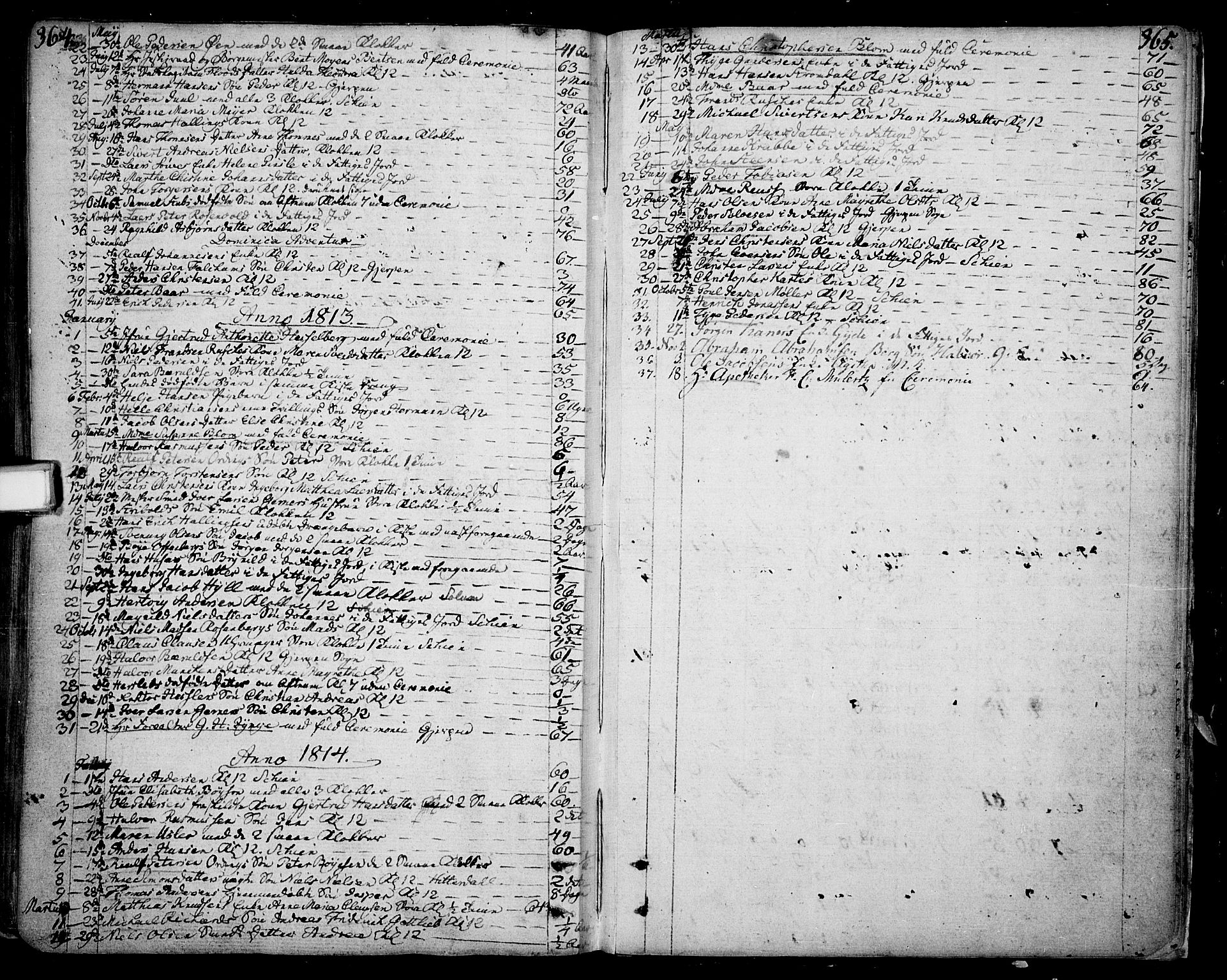 SAKO, Skien kirkebøker, F/Fa/L0004: Ministerialbok nr. 4, 1792-1814, s. 364-365