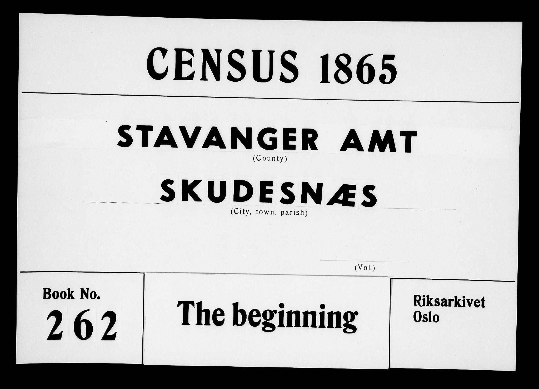 RA, Folketelling 1865 for 1150P Skudenes prestegjeld, 1865, s. 1