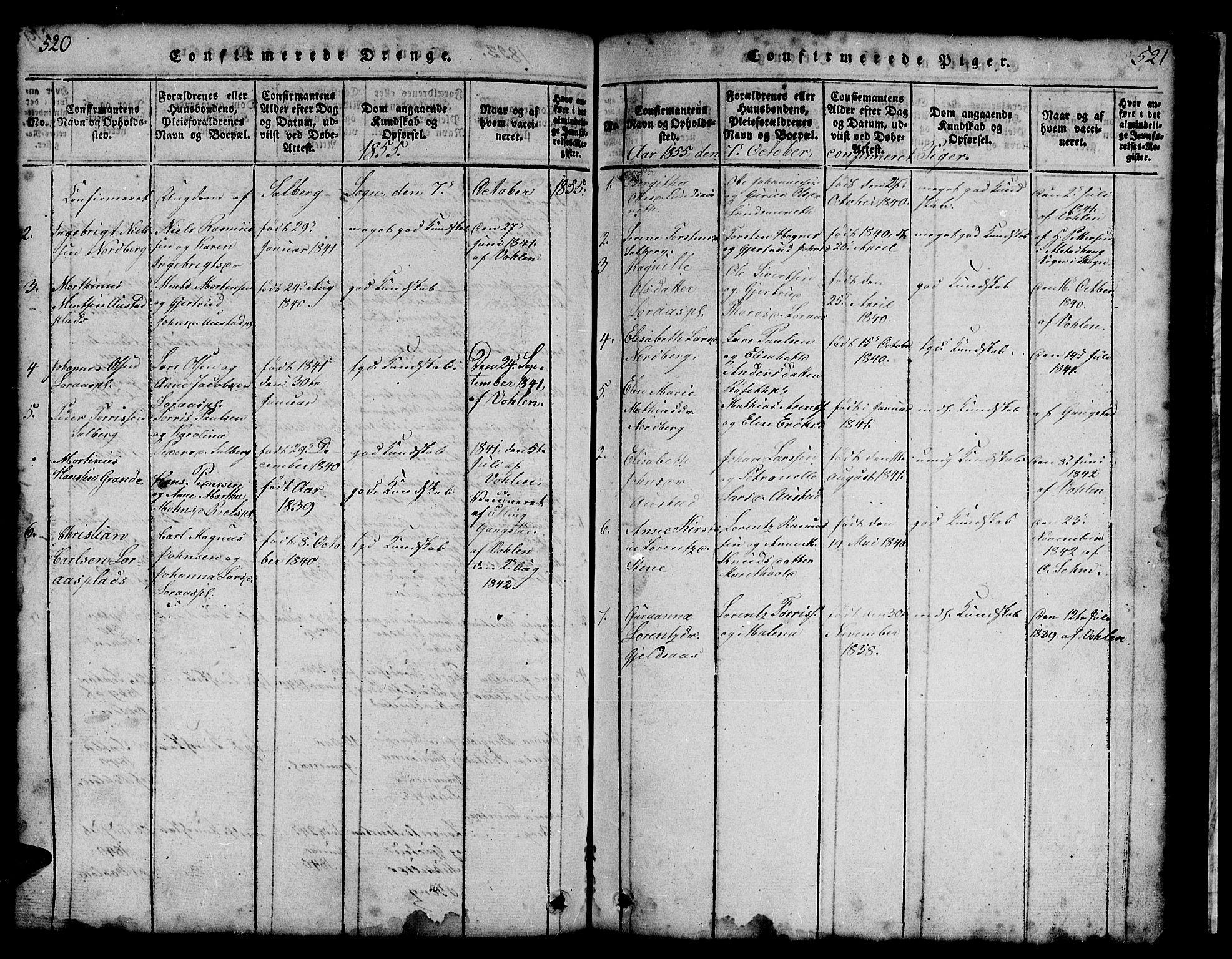 SAT, Ministerialprotokoller, klokkerbøker og fødselsregistre - Nord-Trøndelag, 731/L0310: Klokkerbok nr. 731C01, 1816-1874, s. 520-521