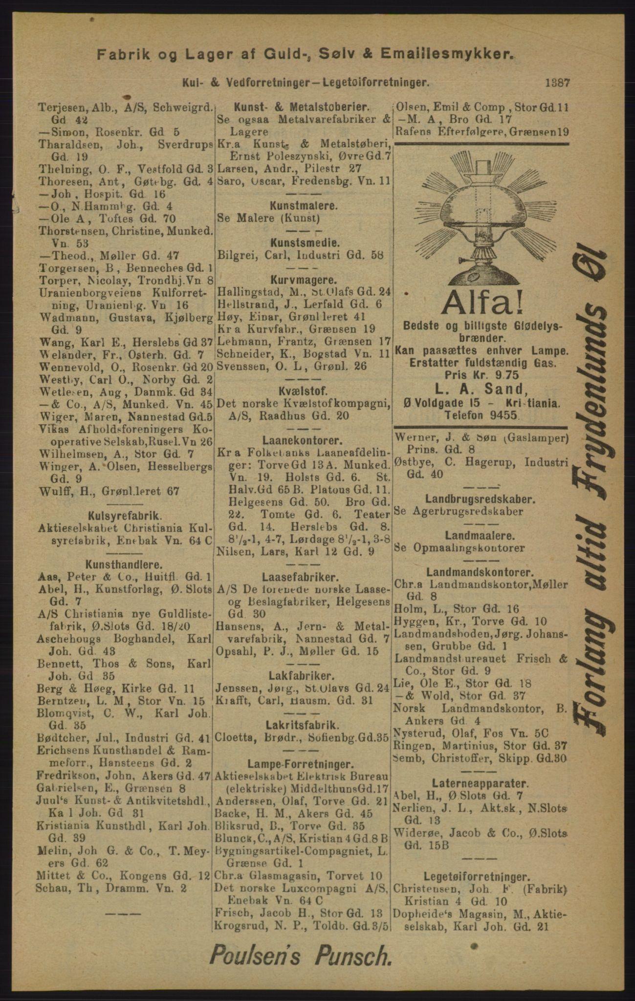 RA, Kristiania adressebok (publikasjon)*, 1905, s. 1387