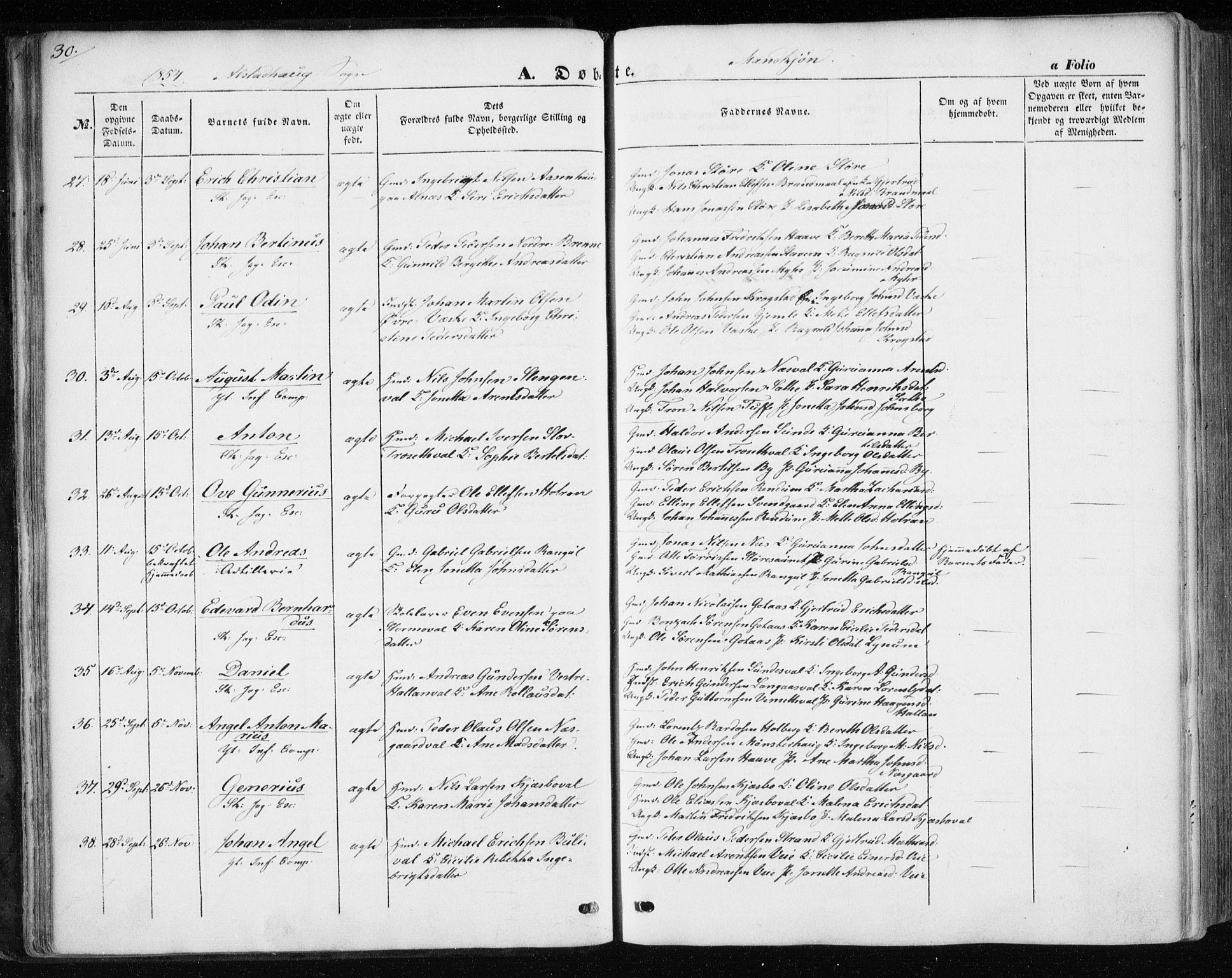 SAT, Ministerialprotokoller, klokkerbøker og fødselsregistre - Nord-Trøndelag, 717/L0154: Ministerialbok nr. 717A07 /1, 1850-1862, s. 30