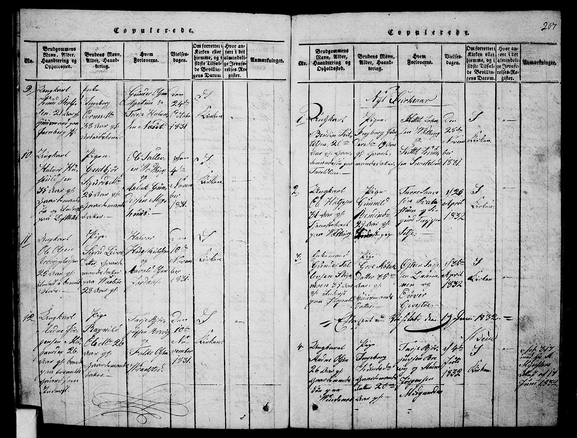 SAKO, Fyresdal kirkebøker, G/Ga/L0001: Klokkerbok nr. I 1, 1816-1840, s. 207