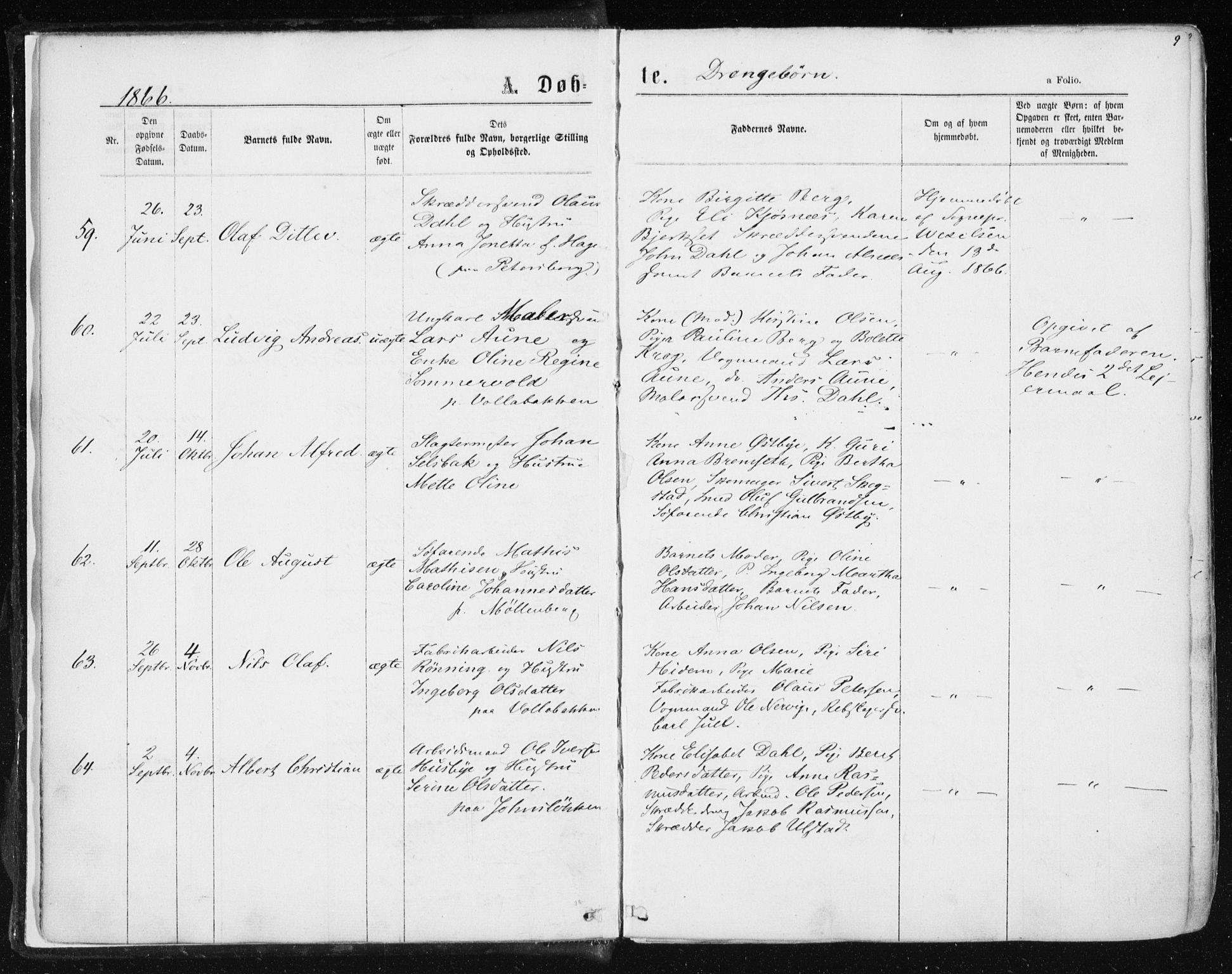 SAT, Ministerialprotokoller, klokkerbøker og fødselsregistre - Sør-Trøndelag, 604/L0186: Ministerialbok nr. 604A07, 1866-1877, s. 9