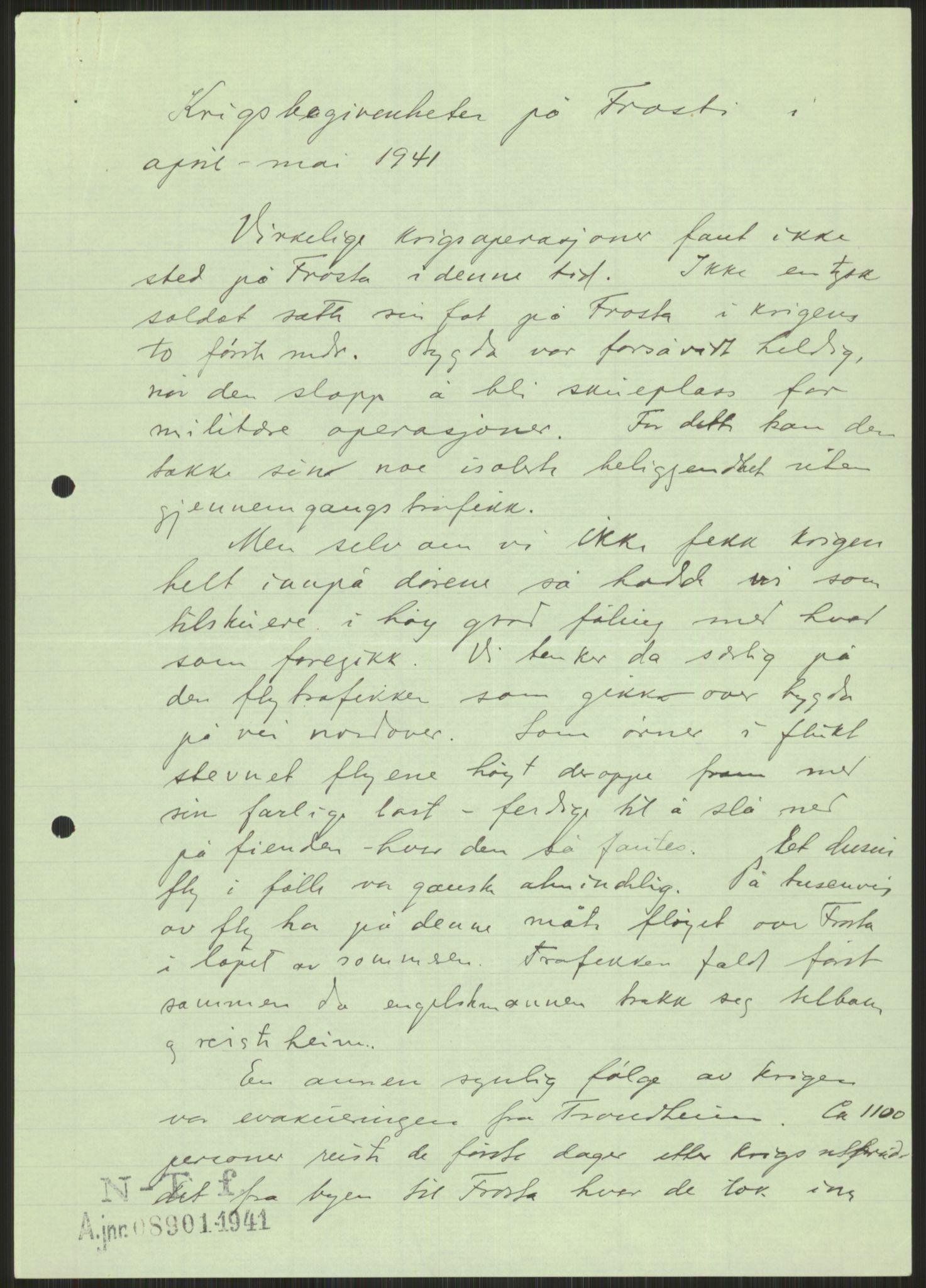 RA, Forsvaret, Forsvarets krigshistoriske avdeling, Y/Ya/L0016: II-C-11-31 - Fylkesmenn.  Rapporter om krigsbegivenhetene 1940., 1940, s. 462