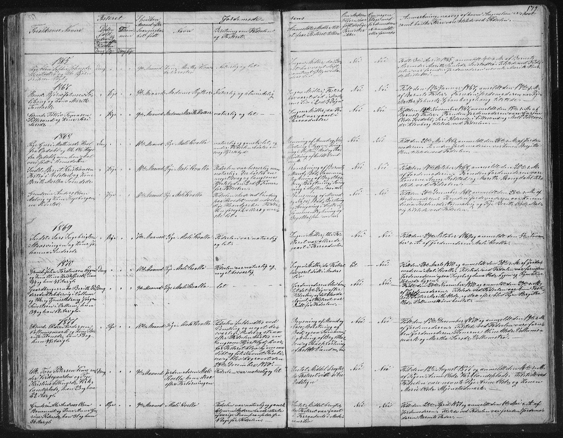 SAT, Ministerialprotokoller, klokkerbøker og fødselsregistre - Sør-Trøndelag, 616/L0406: Ministerialbok nr. 616A03, 1843-1879, s. 179