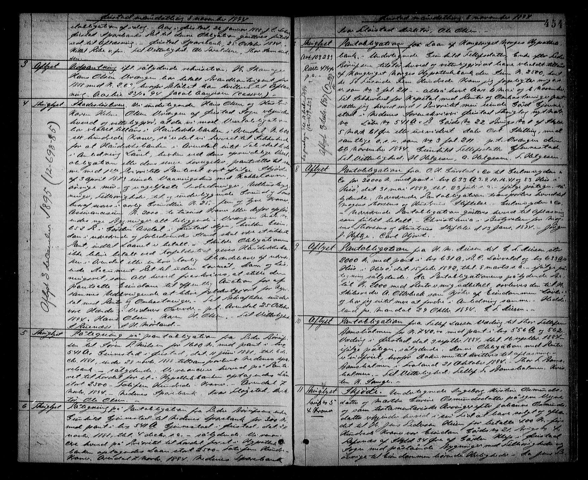 SAK, Nedenes sorenskriveri, G/Gb/Gba/L0015: Pantebok nr. 12, 1892-1896, s. 454