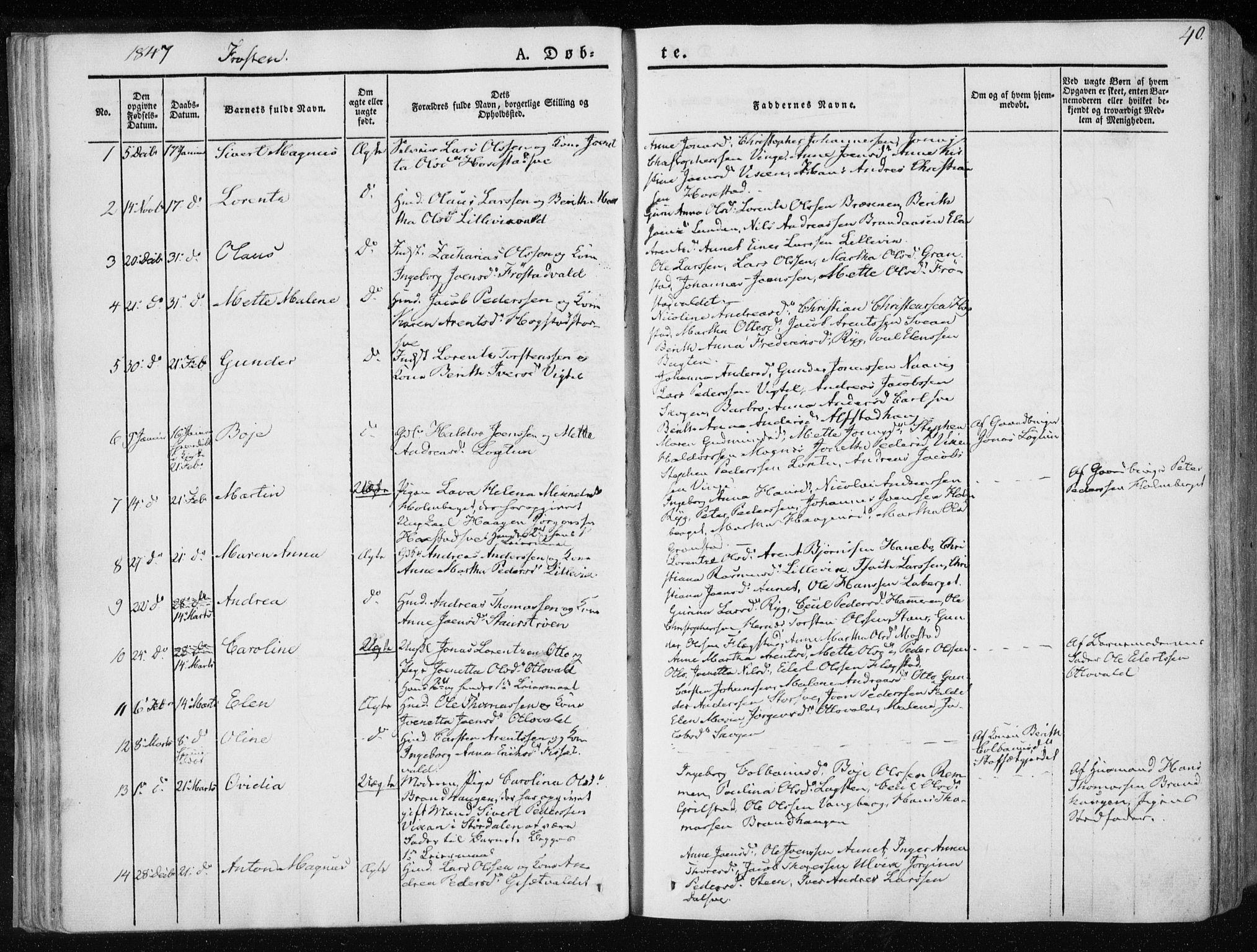 SAT, Ministerialprotokoller, klokkerbøker og fødselsregistre - Nord-Trøndelag, 713/L0115: Ministerialbok nr. 713A06, 1838-1851, s. 40