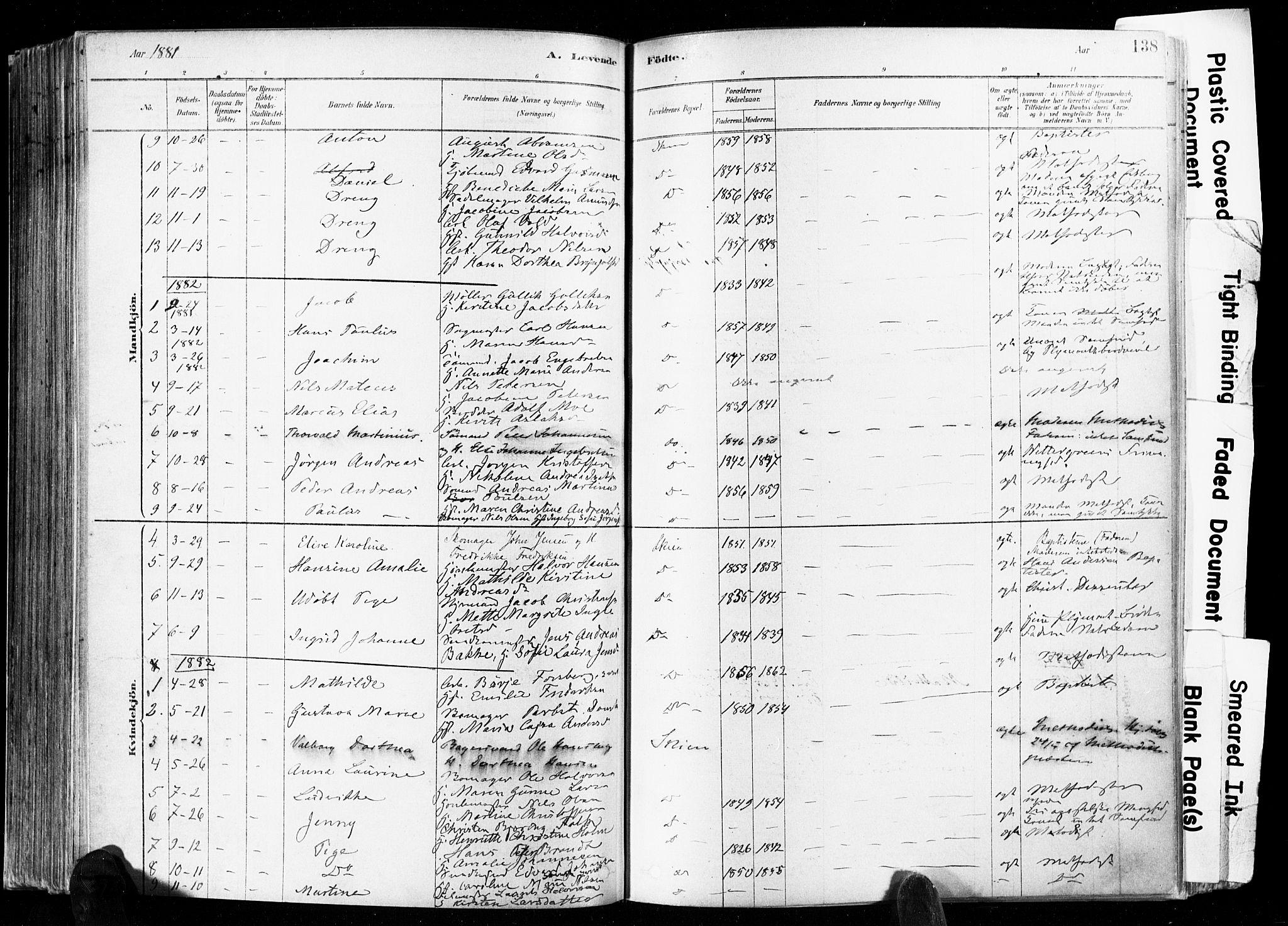 SAKO, Skien kirkebøker, F/Fa/L0009: Ministerialbok nr. 9, 1878-1890, s. 138
