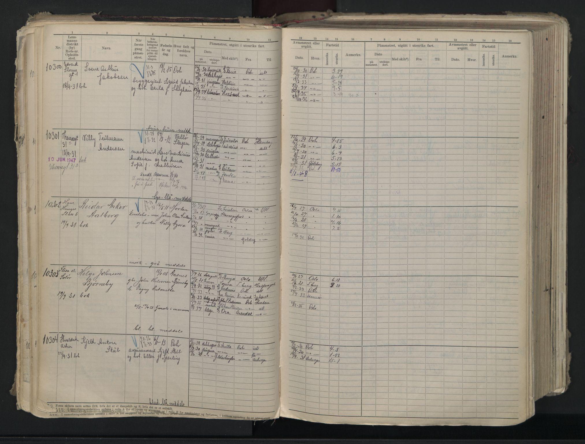 SAO, Oslo sjømannskontor, F/Fc/L0007: Hovedrulle, 1930-1948, s. 57