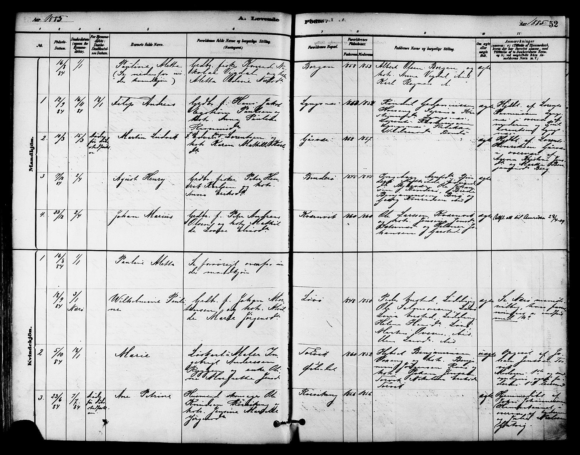 SAT, Ministerialprotokoller, klokkerbøker og fødselsregistre - Nord-Trøndelag, 786/L0686: Ministerialbok nr. 786A02, 1880-1887, s. 52