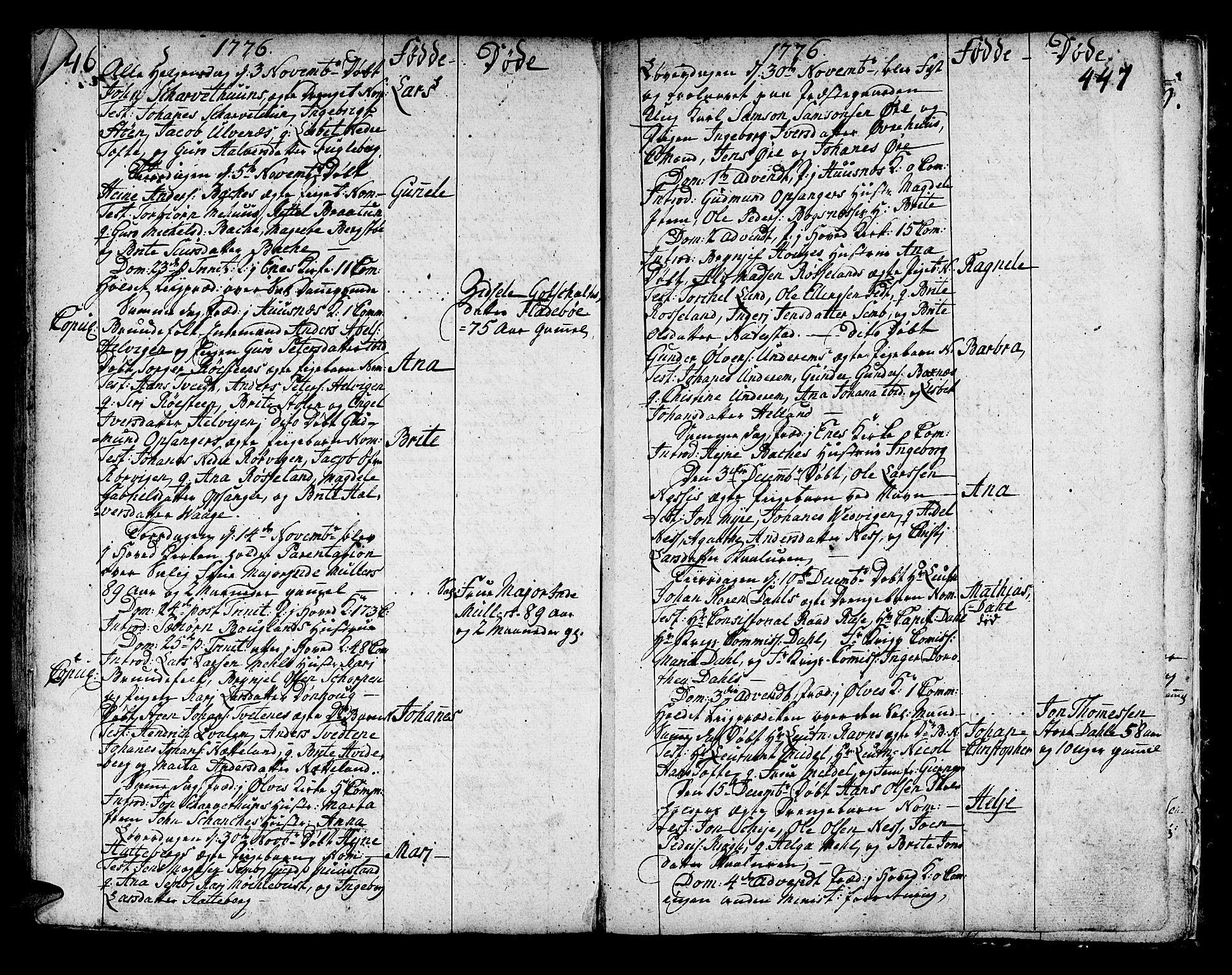 SAB, Kvinnherad Sokneprestembete, H/Haa: Ministerialbok nr. A 3, 1754-1777, s. 446-447
