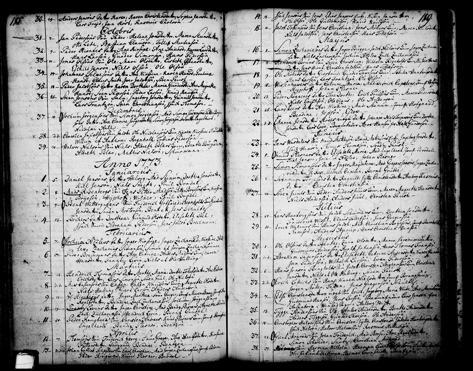 SAKO, Skien kirkebøker, F/Fa/L0003: Ministerialbok nr. 3, 1755-1791, s. 188-189
