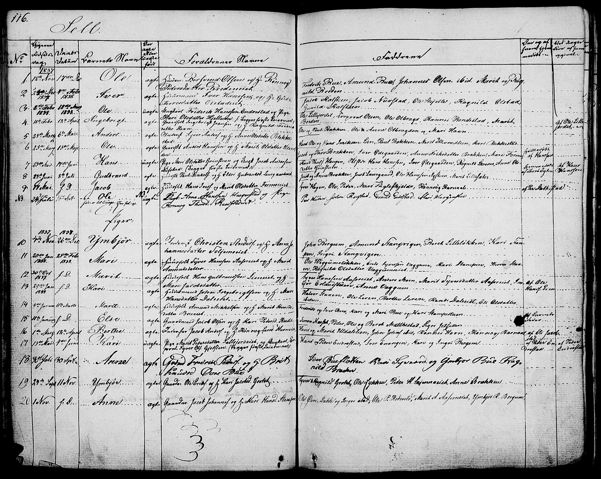 SAH, Vågå prestekontor, Ministerialbok nr. 4 /3, 1834-1842, s. 116