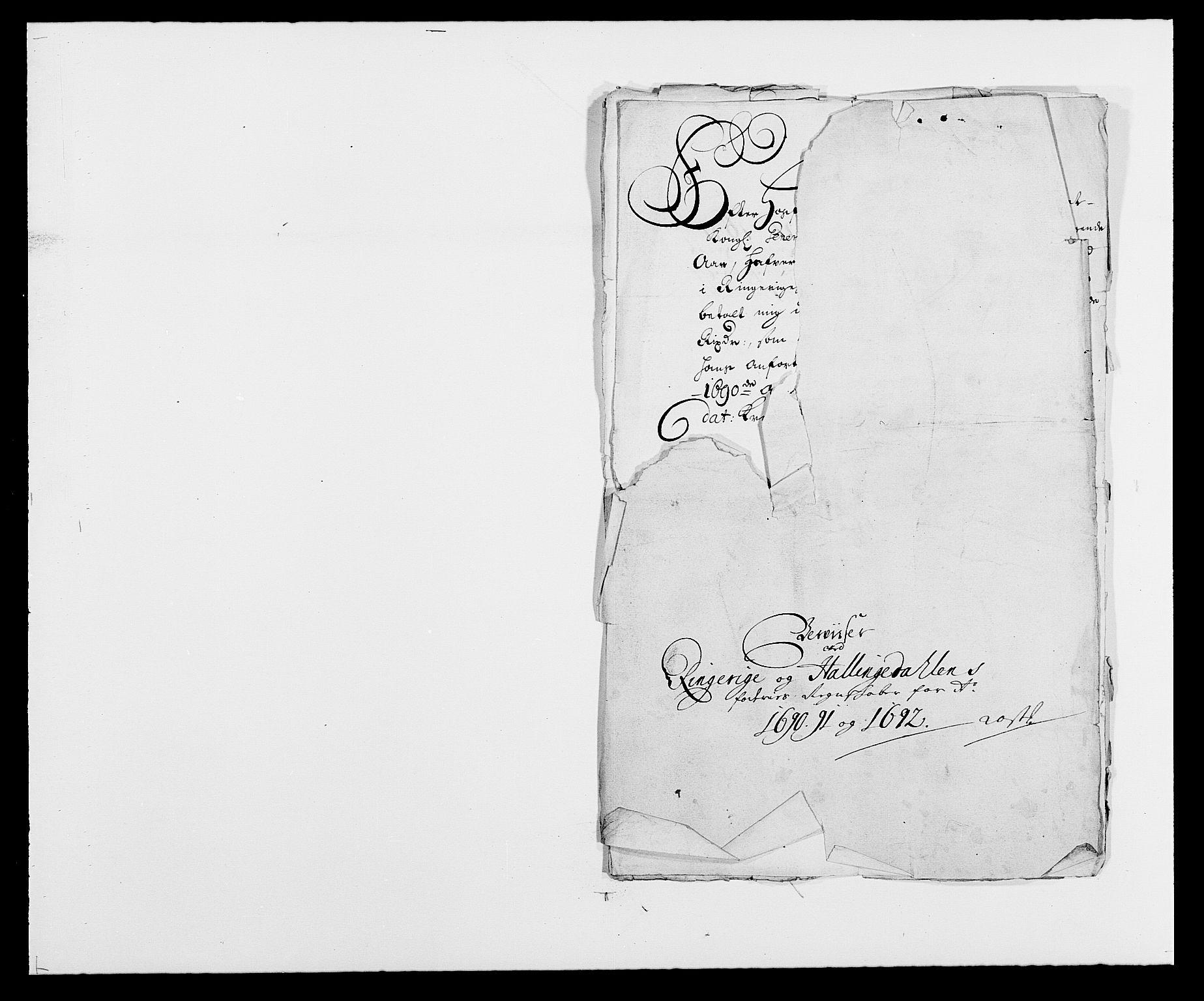 RA, Rentekammeret inntil 1814, Reviderte regnskaper, Fogderegnskap, R21/L1448: Fogderegnskap Ringerike og Hallingdal, 1690-1692, s. 122