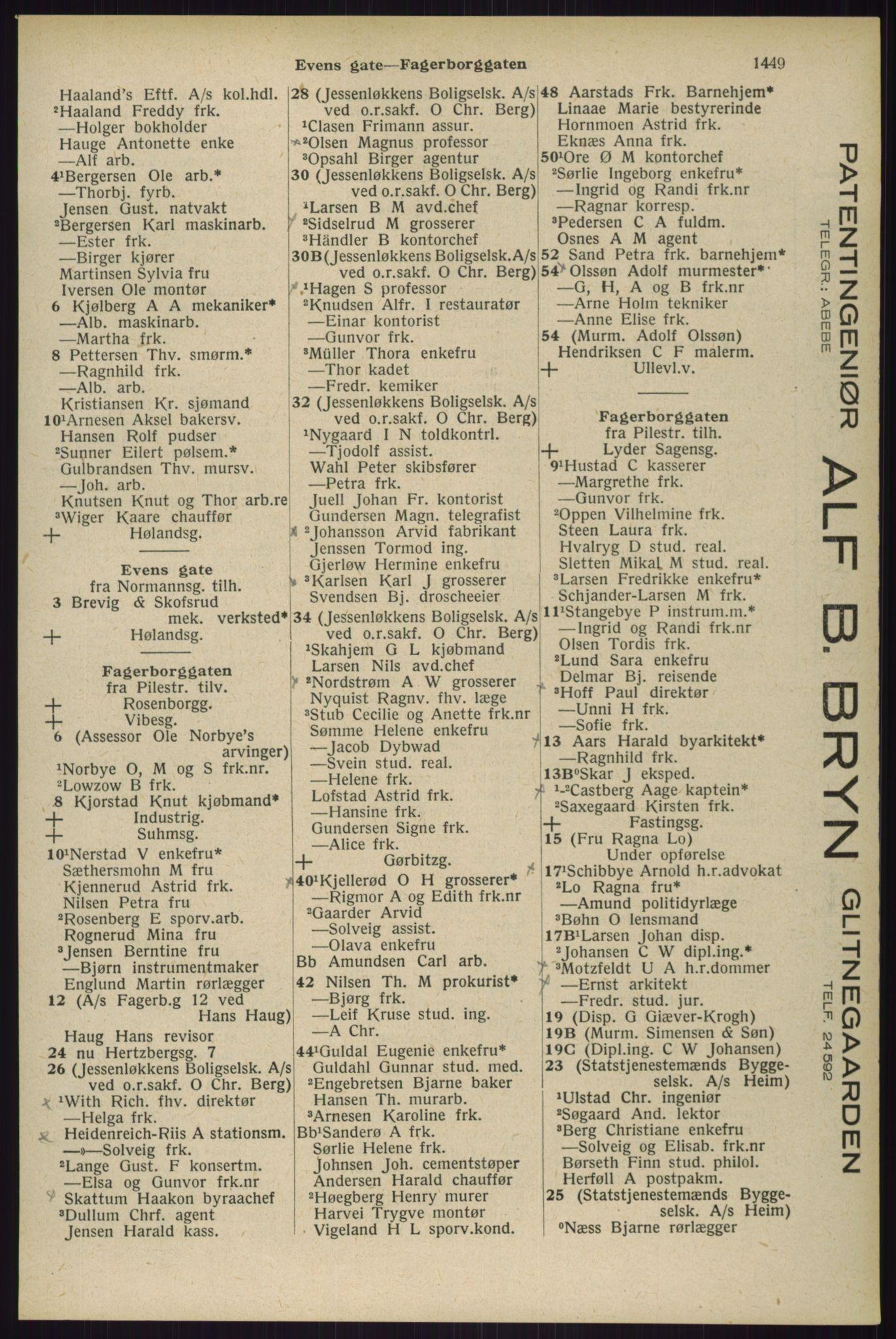 RA, Oslo adressebok (publikasjon)*, 1929, s. 1449