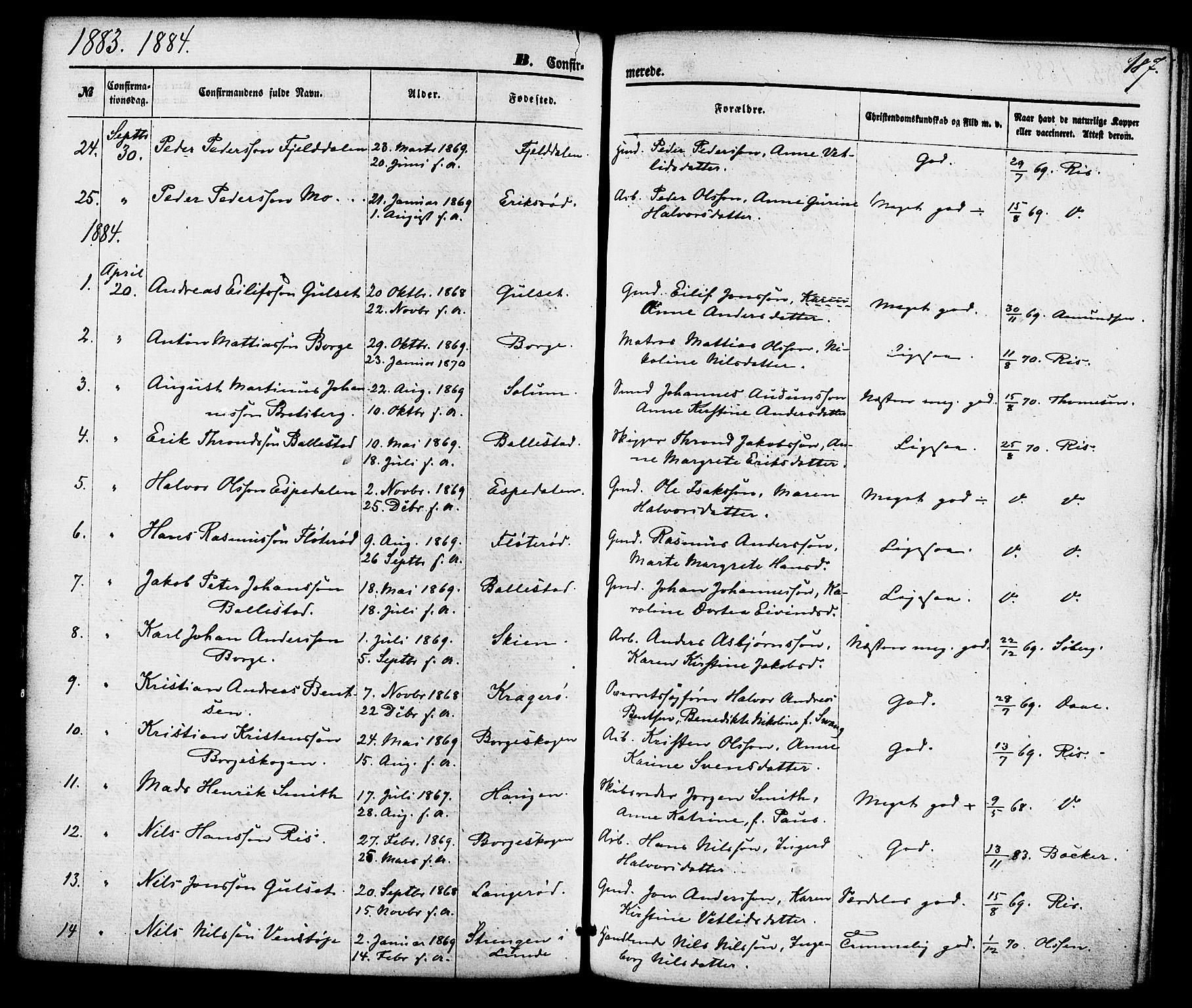 SAKO, Gjerpen kirkebøker, F/Fa/L0009: Ministerialbok nr. 9, 1872-1885, s. 187