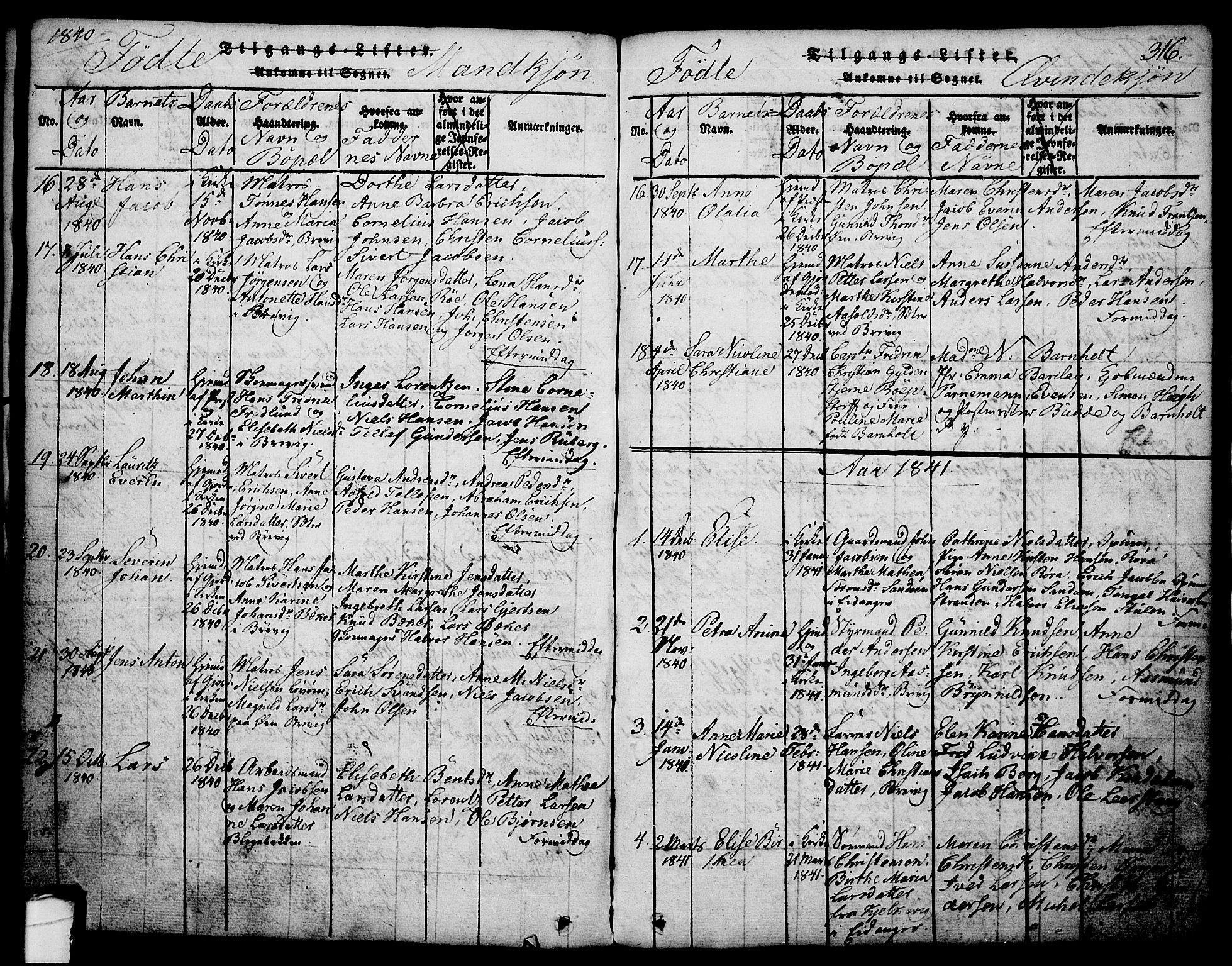 SAKO, Brevik kirkebøker, G/Ga/L0001: Klokkerbok nr. 1, 1814-1845, s. 316