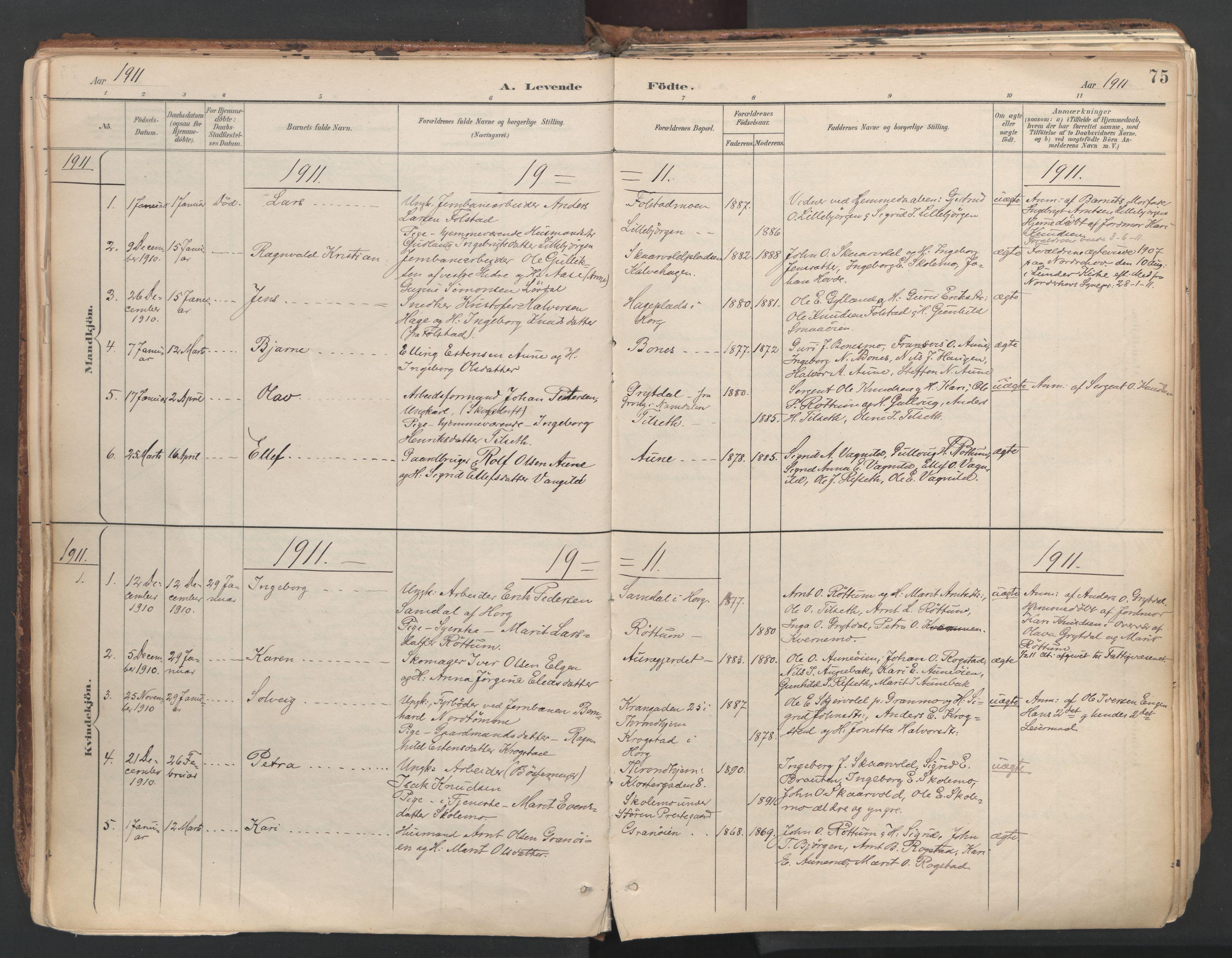 SAT, Ministerialprotokoller, klokkerbøker og fødselsregistre - Sør-Trøndelag, 687/L1004: Ministerialbok nr. 687A10, 1891-1923, s. 75