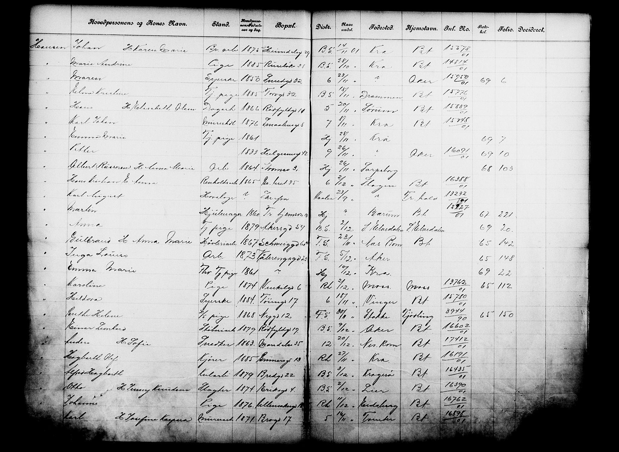 OBA, Fattigvesenet, Fb/L0021: Hjemstavnsregister, 1901, s. 209