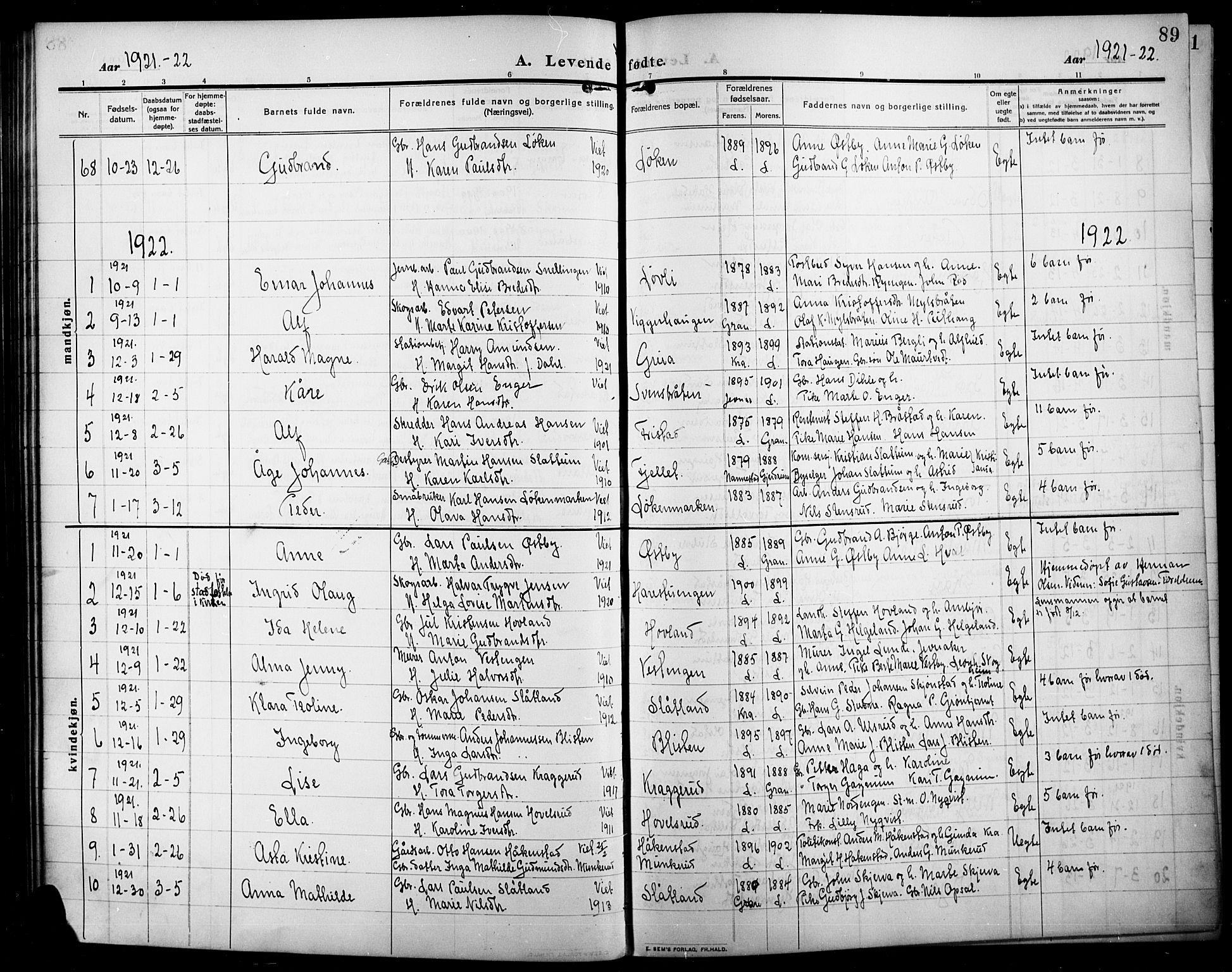 SAH, Lunner prestekontor, H/Ha/Hab/L0001: Klokkerbok nr. 1, 1909-1922, s. 89