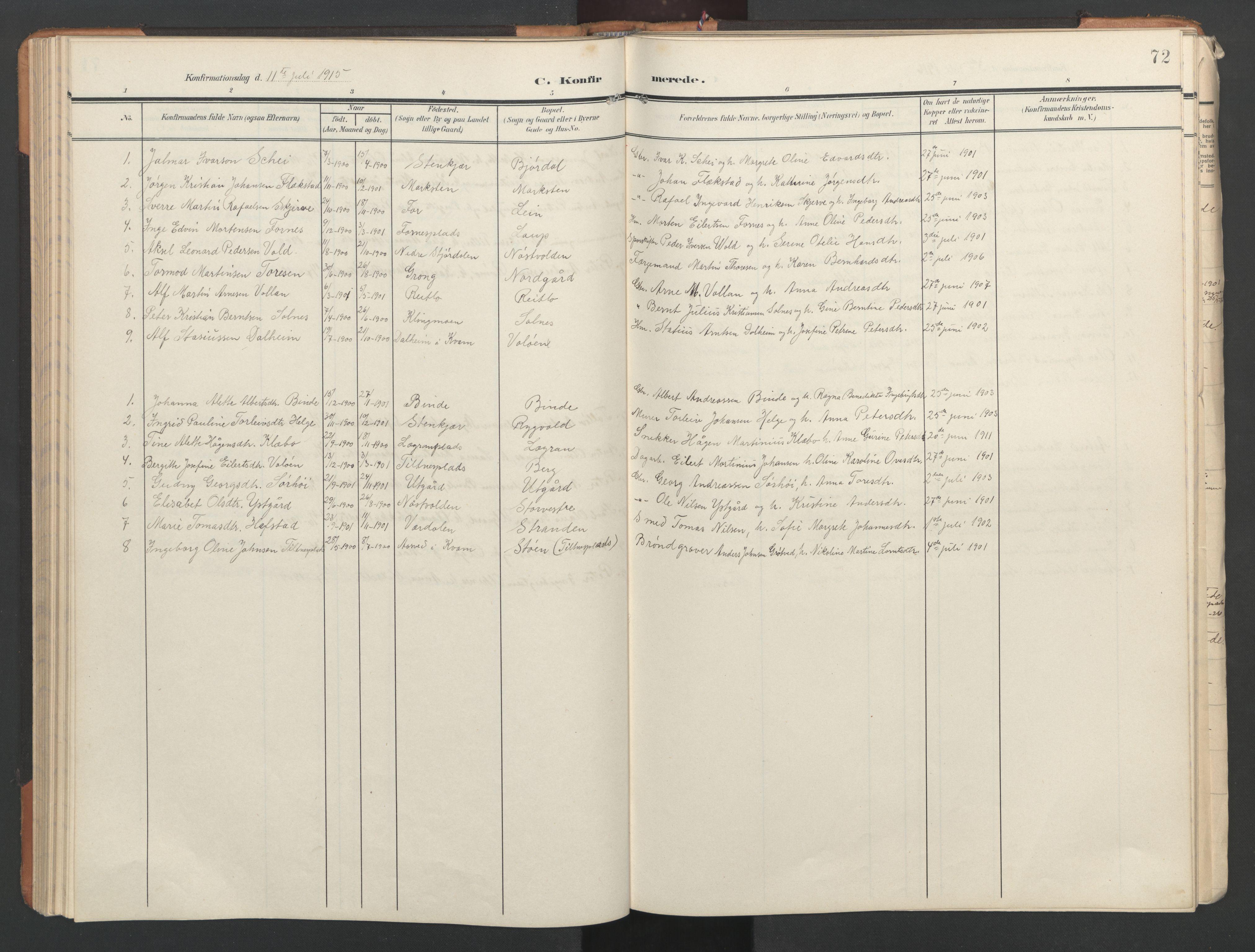 SAT, Ministerialprotokoller, klokkerbøker og fødselsregistre - Nord-Trøndelag, 746/L0455: Klokkerbok nr. 746C01, 1908-1933, s. 72