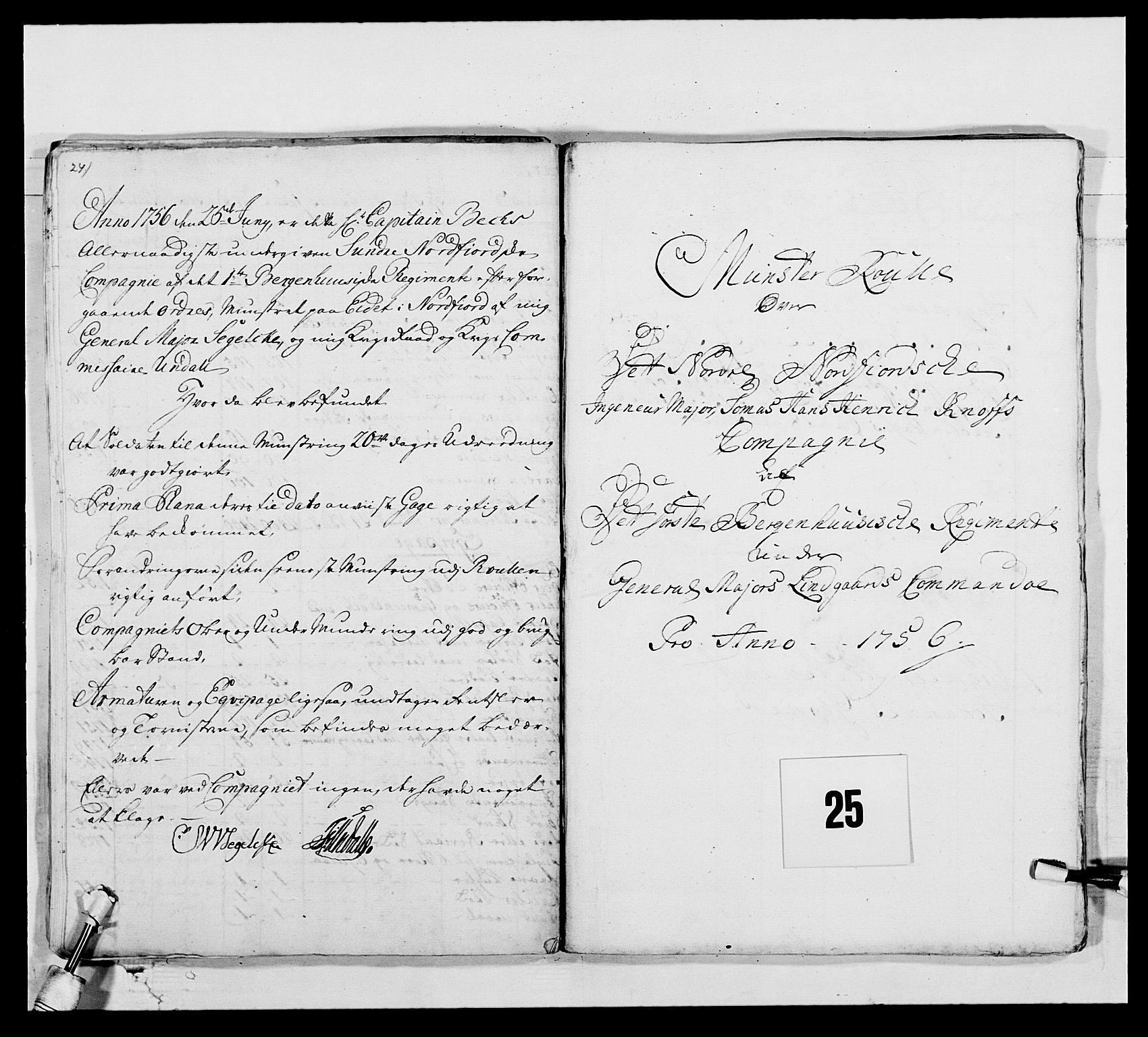 RA, Kommanderende general (KG I) med Det norske krigsdirektorium, E/Ea/L0517: 1. Bergenhusiske regiment, 1742-1756, s. 354