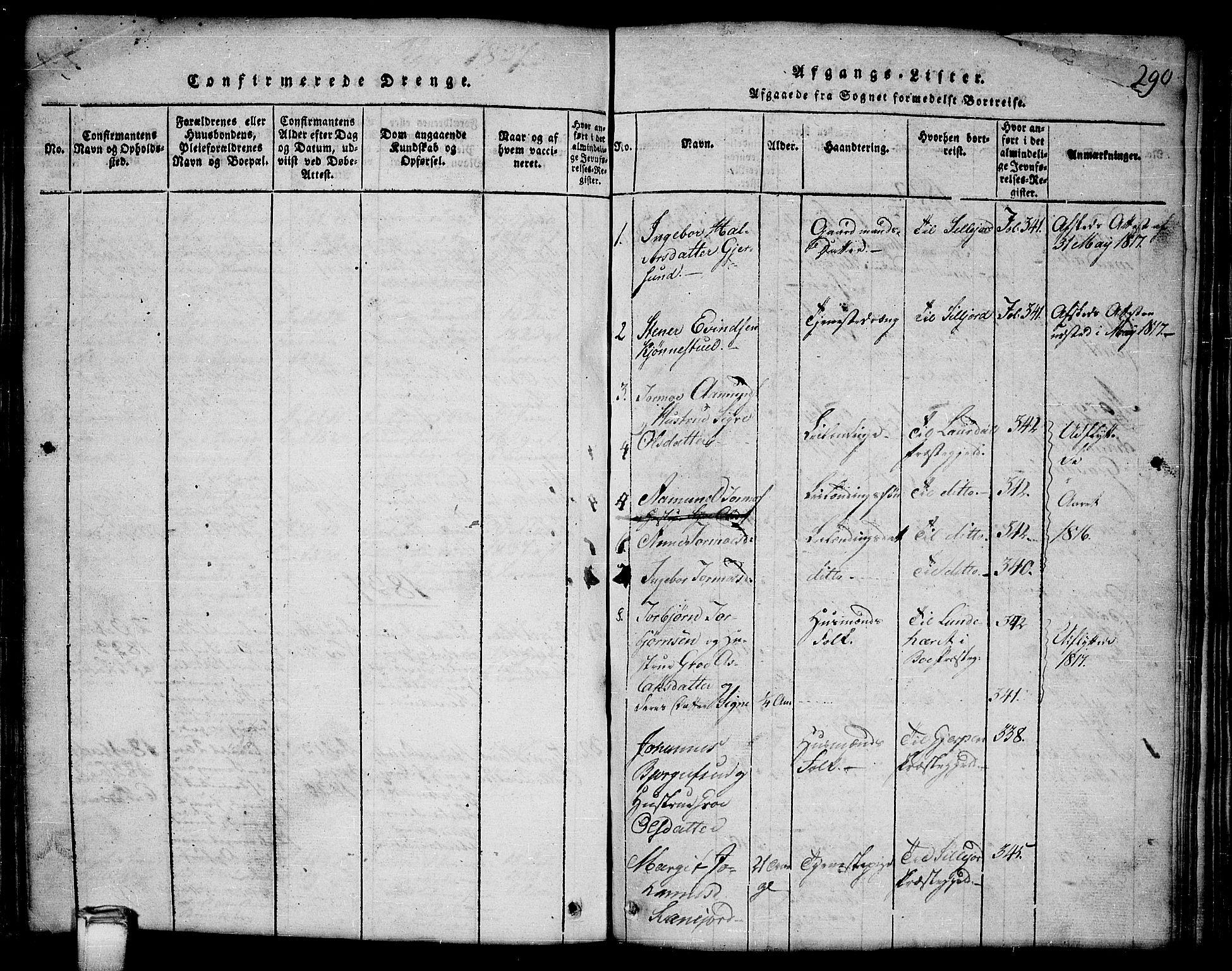 SAKO, Kviteseid kirkebøker, G/Gb/L0001: Klokkerbok nr. II 1, 1815-1842, s. 290