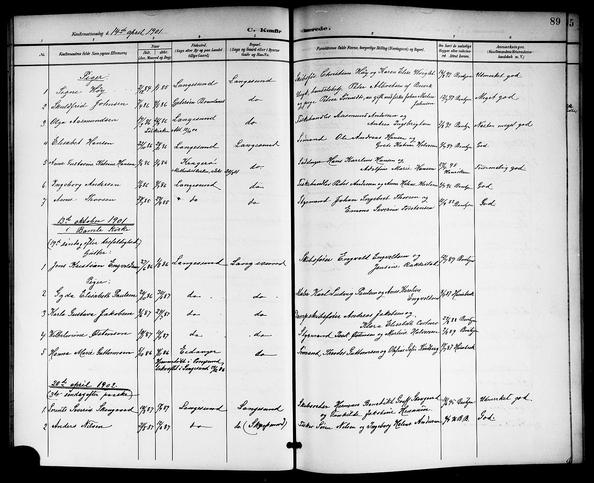 SAKO, Langesund kirkebøker, G/Ga/L0006: Klokkerbok nr. 6, 1899-1918, s. 89
