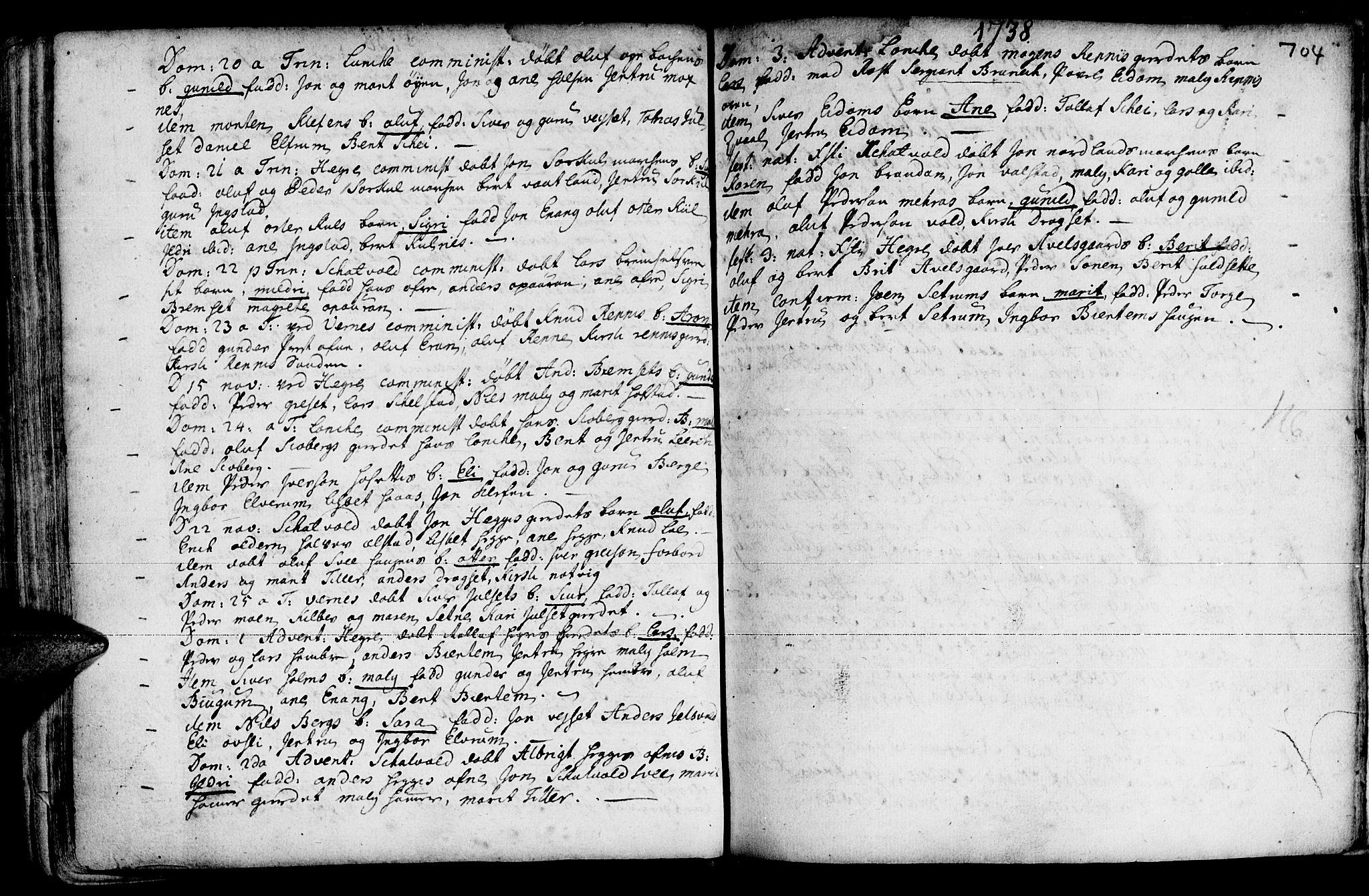 SAT, Ministerialprotokoller, klokkerbøker og fødselsregistre - Nord-Trøndelag, 709/L0055: Ministerialbok nr. 709A03, 1730-1739, s. 703-704