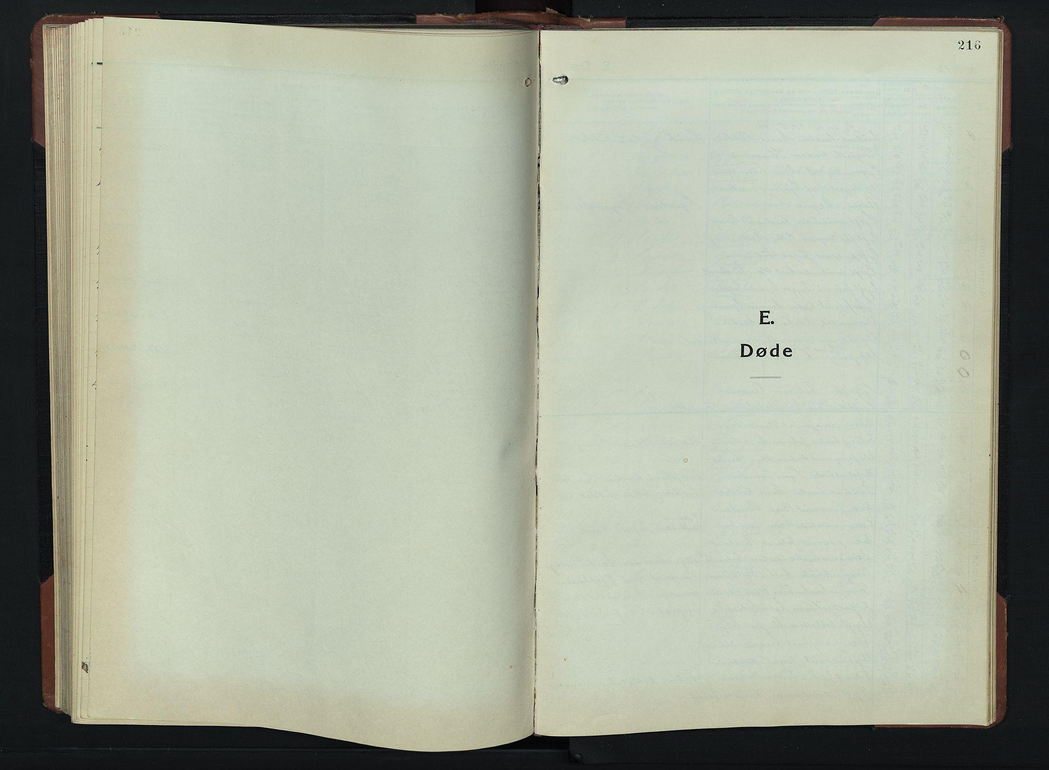 SAH, Vardal prestekontor, H/Ha/Hab/L0019: Klokkerbok nr. 19, 1941-1951, s. 216