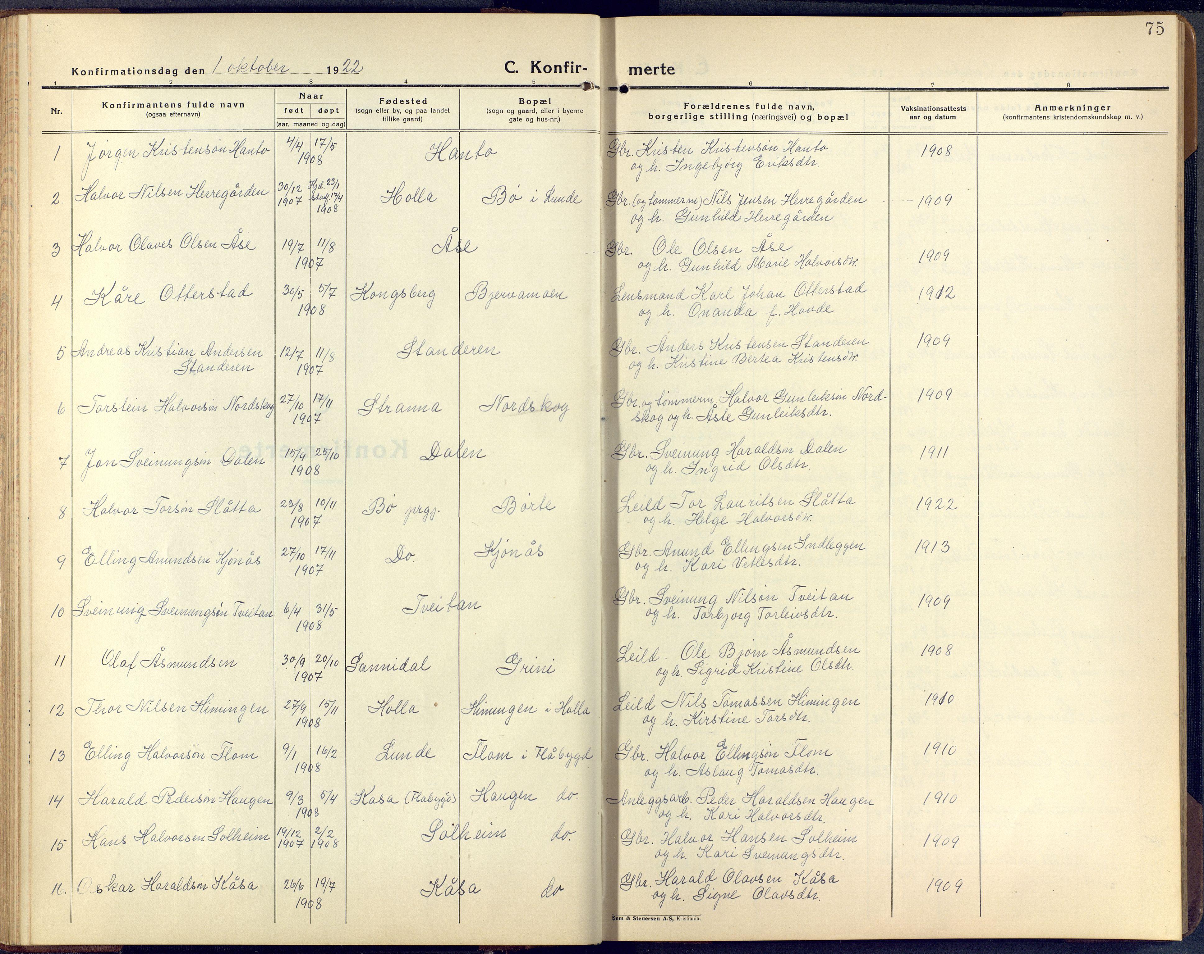 SAKO, Lunde kirkebøker, F/Fa/L0006: Ministerialbok nr. I 6, 1922-1940, s. 75