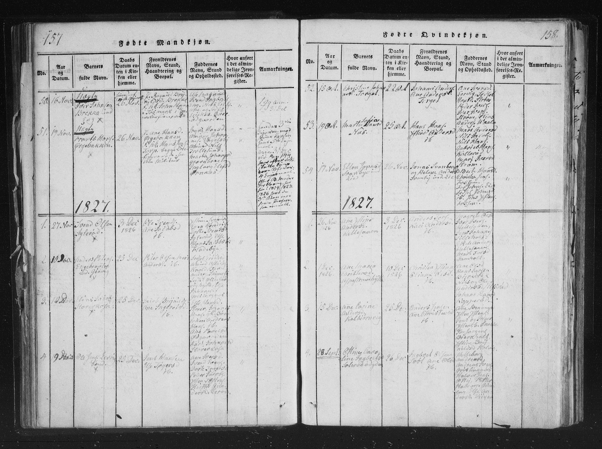 SAO, Aremark prestekontor Kirkebøker, F/Fc/L0001: Ministerialbok nr. III 1, 1814-1834, s. 157-158