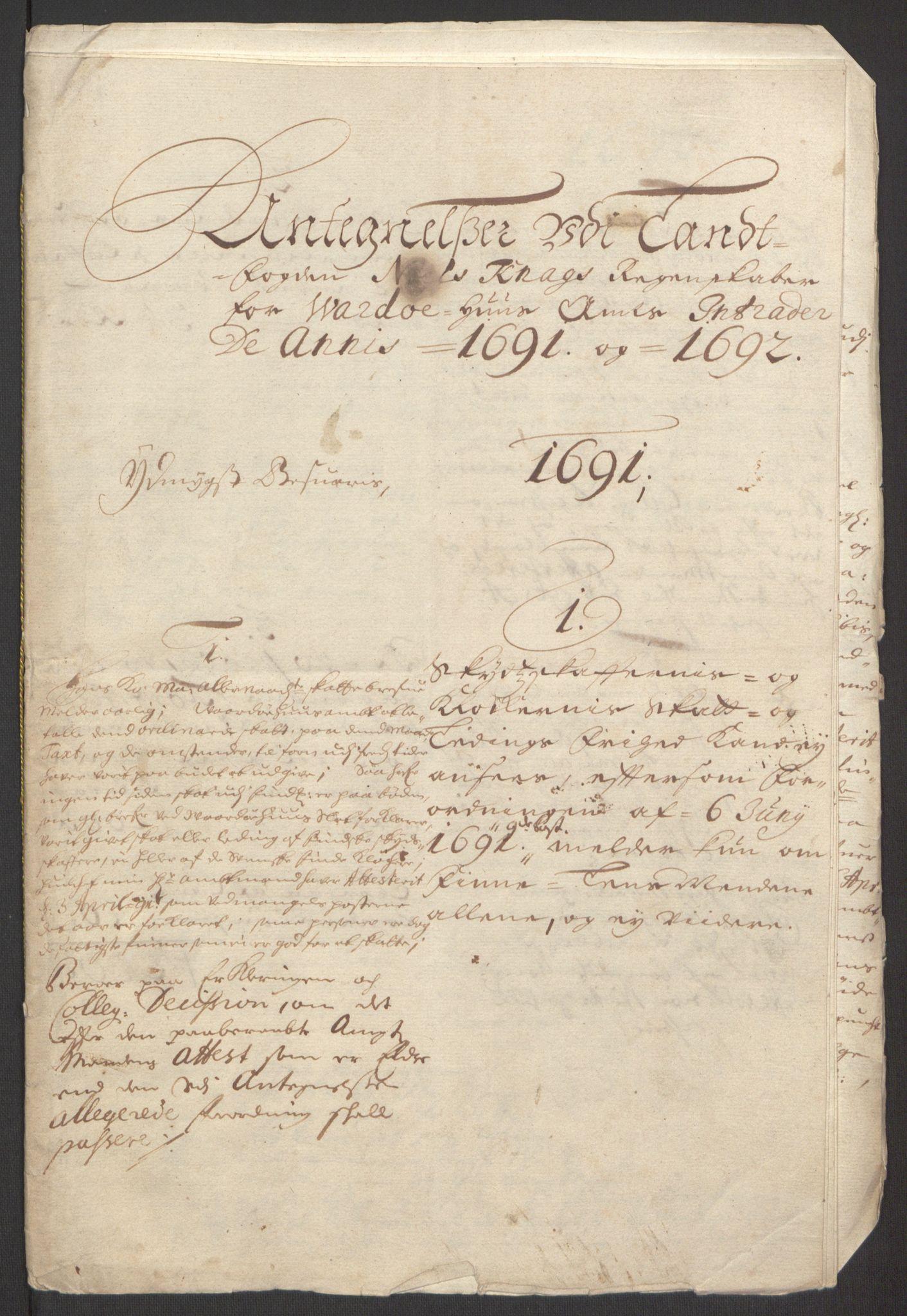 RA, Rentekammeret inntil 1814, Reviderte regnskaper, Fogderegnskap, R69/L4851: Fogderegnskap Finnmark/Vardøhus, 1691-1700, s. 219